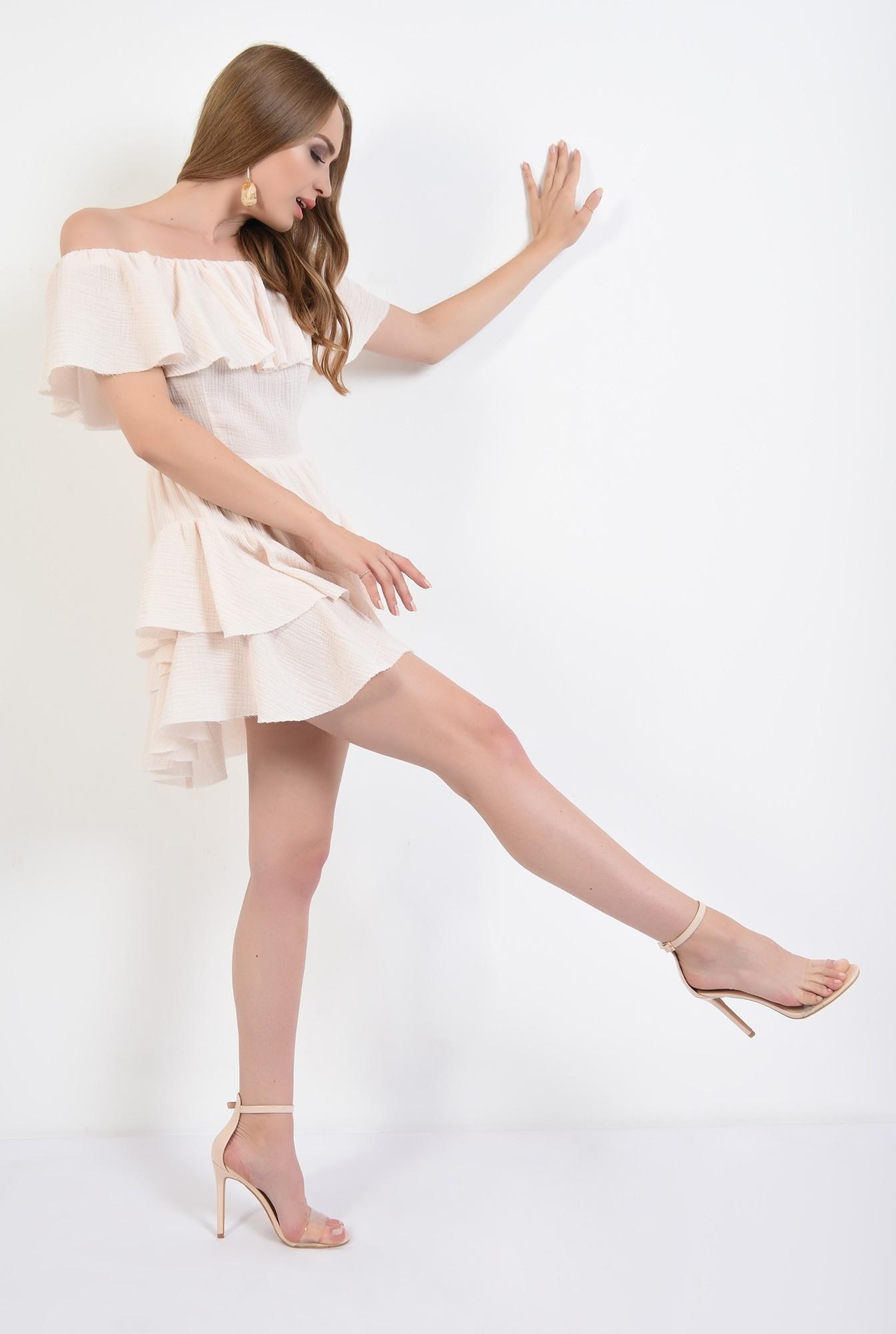 3 - rochie mini, asimetrica, din bumbac, Poema