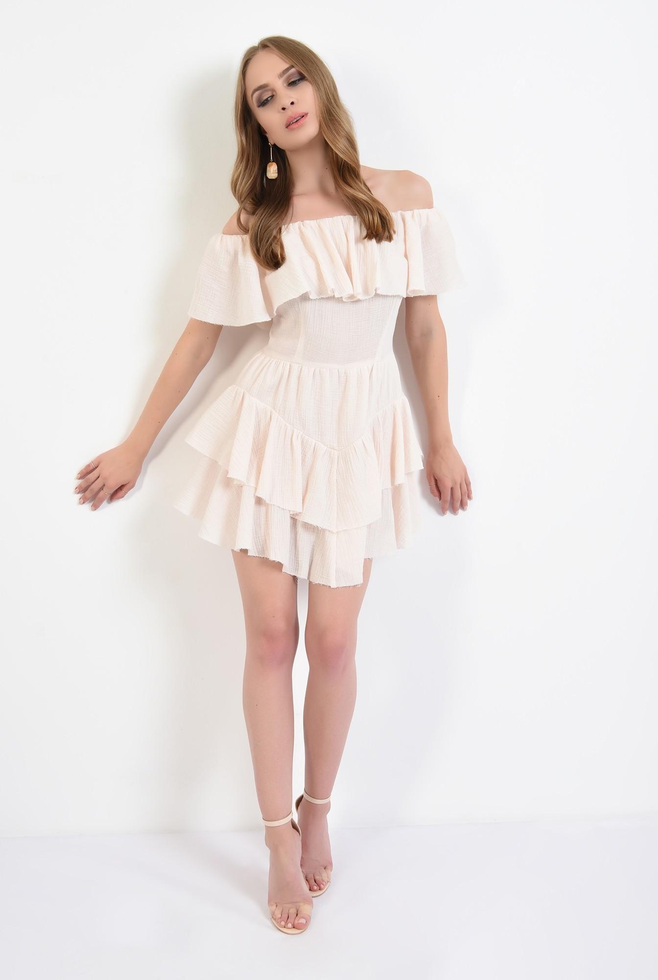 0 - rochie mini, asimetrica, din bumbac, Poema