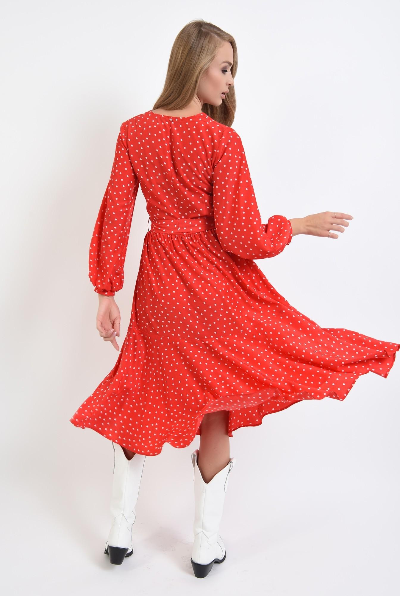 1 - rochie rosie, cu decolteu in V, cu maneca lunga