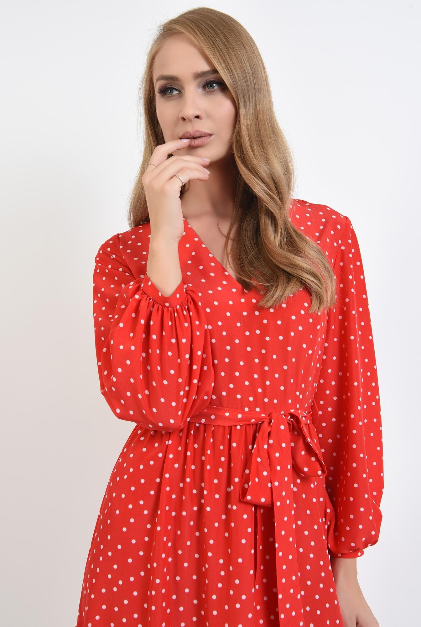 2 - rochie rosie, cu decolteu in V, cu maneca lunga