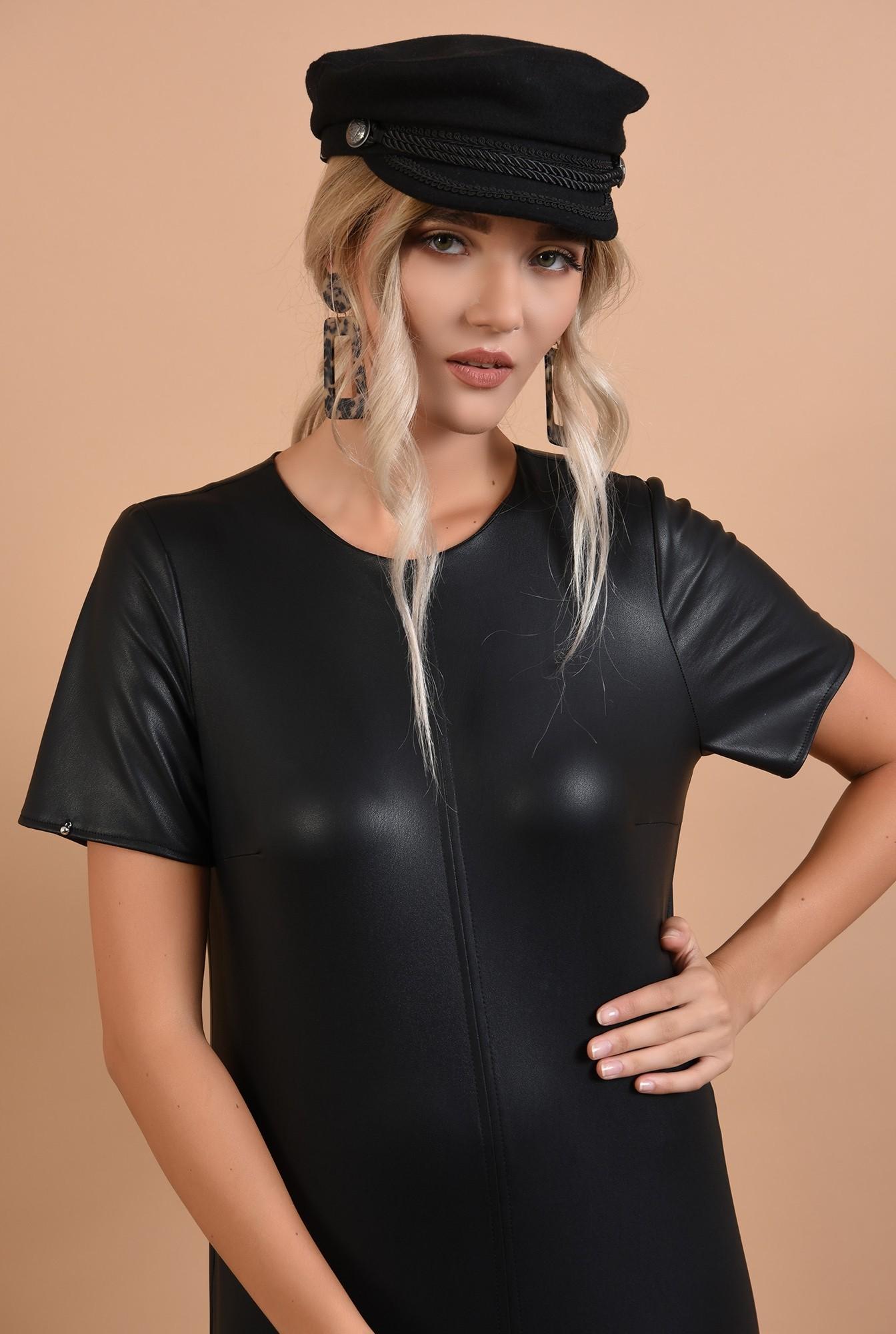 2 - rochie neagra, casual, din piele ecologica, Poema