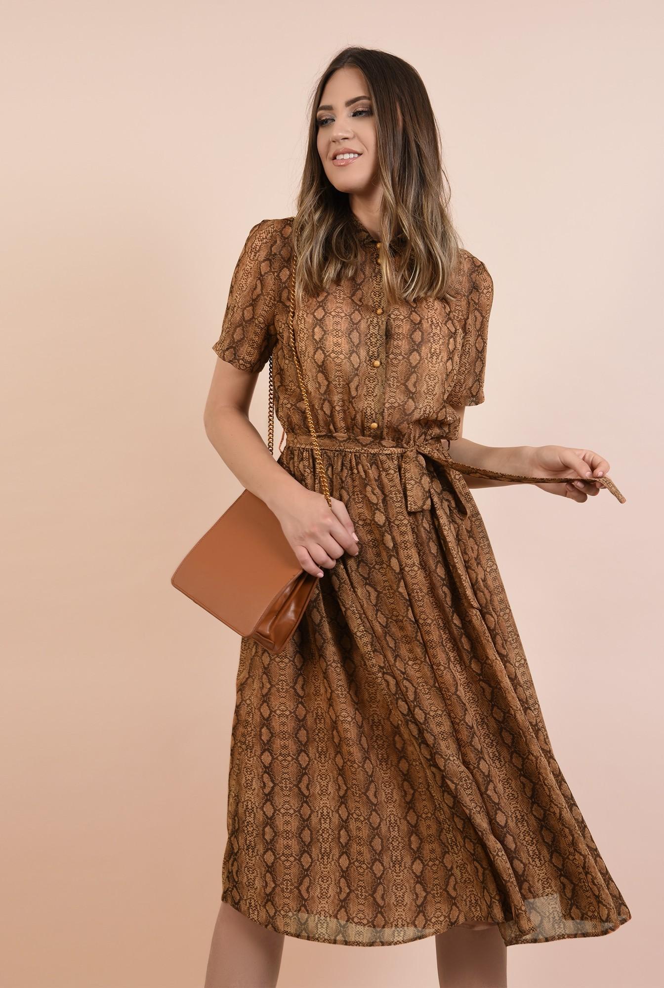 3 - rochie casual, evazata, din voal imprimat, cu guler ascutit, maneci scurte, Poema