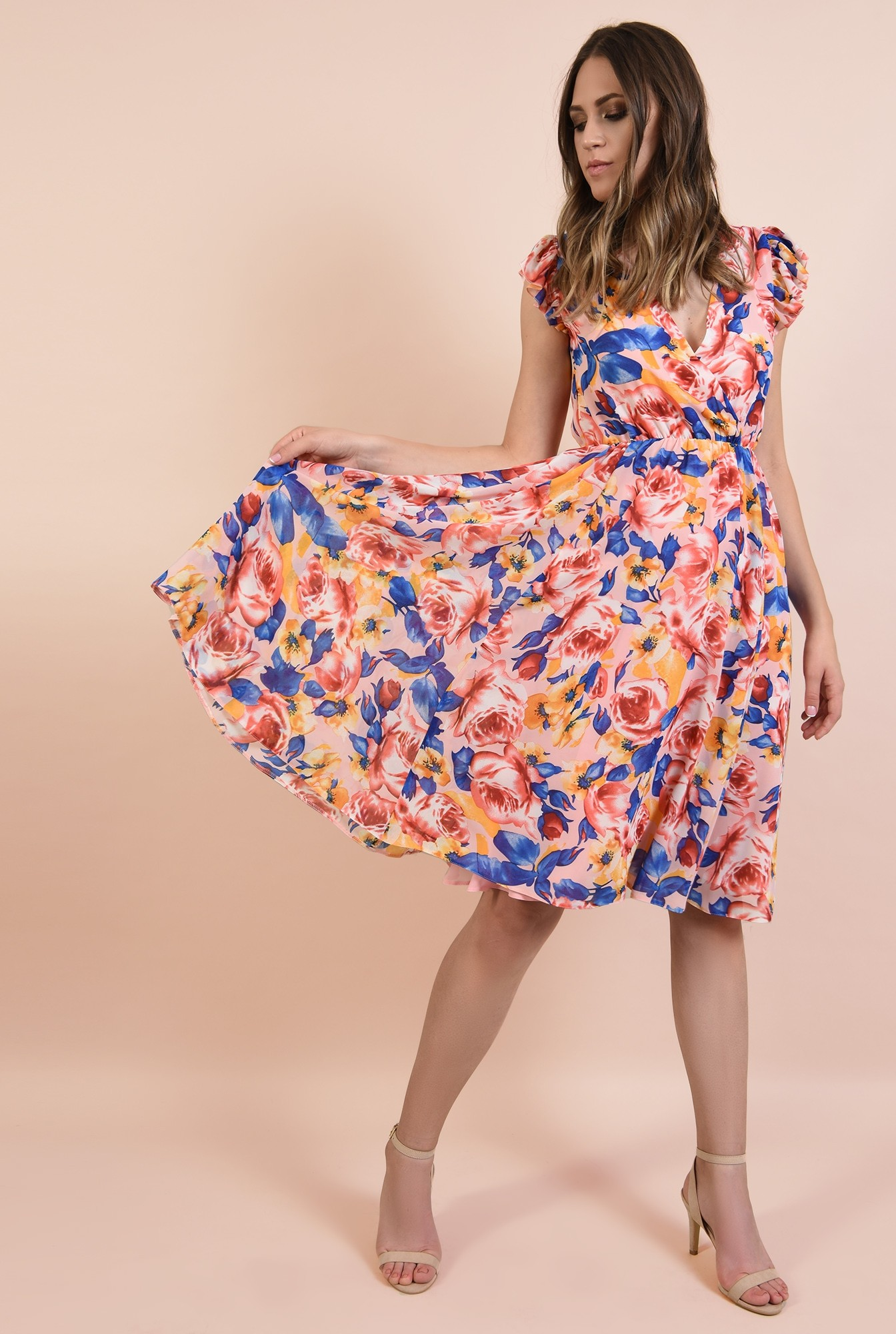 0 - rochie casual, evazata, midi, talie pe elastic, imprimeu floral, Poema