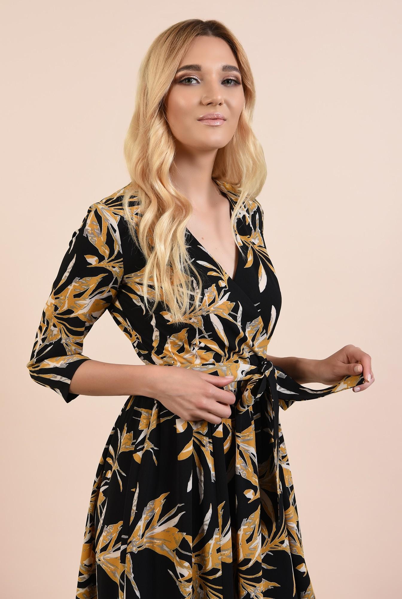 2 - 360 - rochie casual, scurta, cu print floral, anchior petrecut, Poema