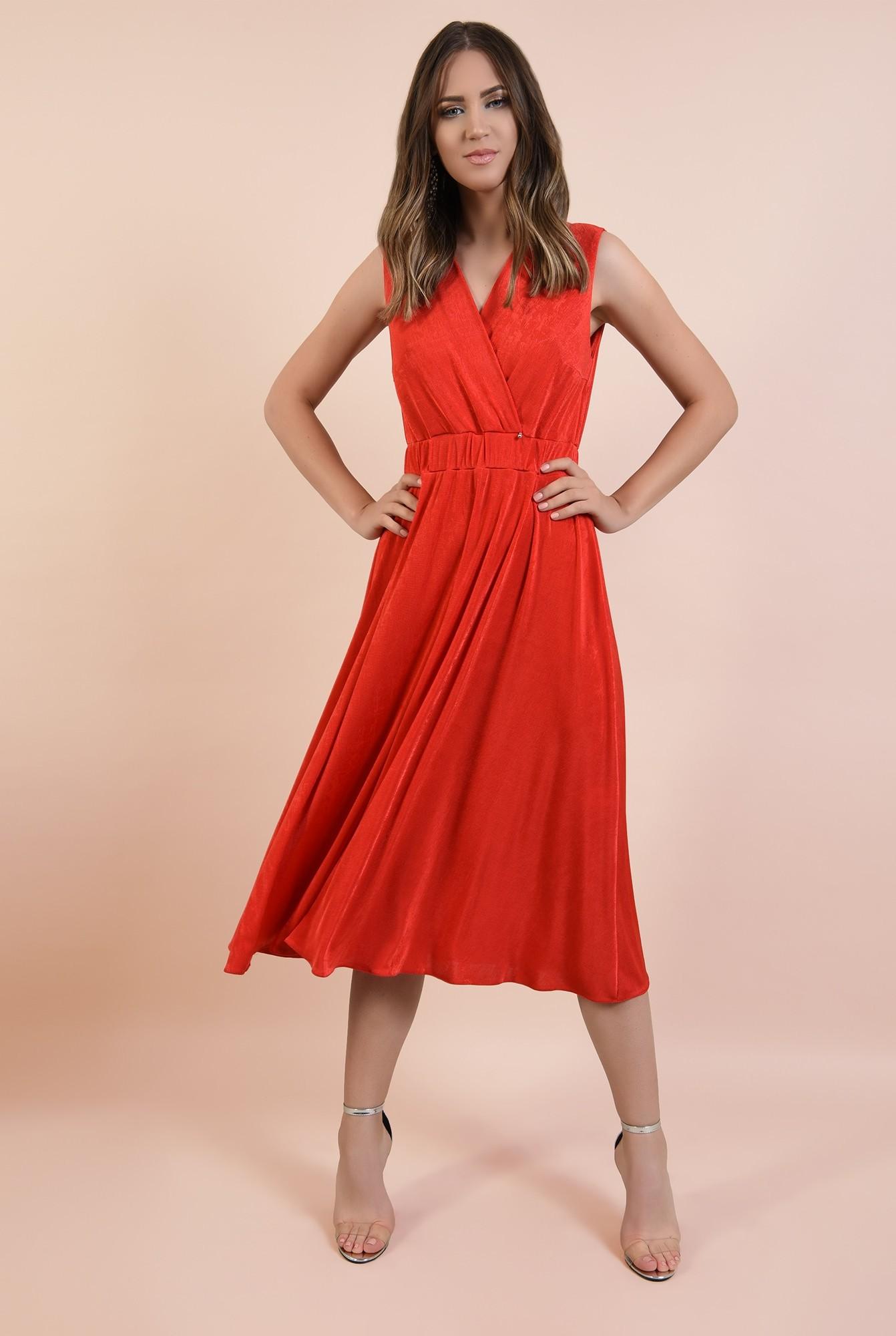 3 - rochie de seara, rosie, midi, evazata, spate cu snur, decolteu anchior petrecut