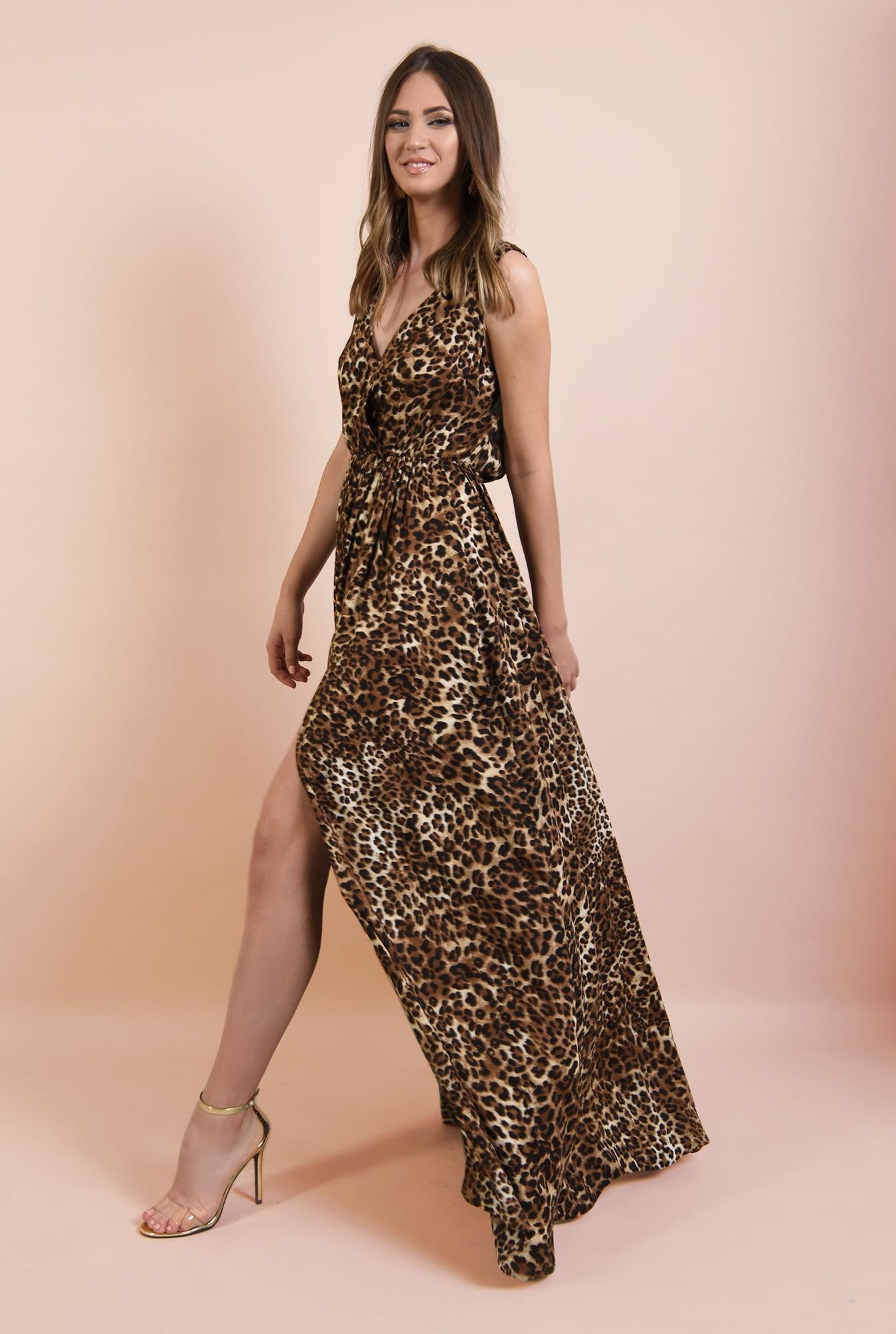0 - 360 - rochie de seara, lunga, cu slit, animal print, decolteu anchior, Poema