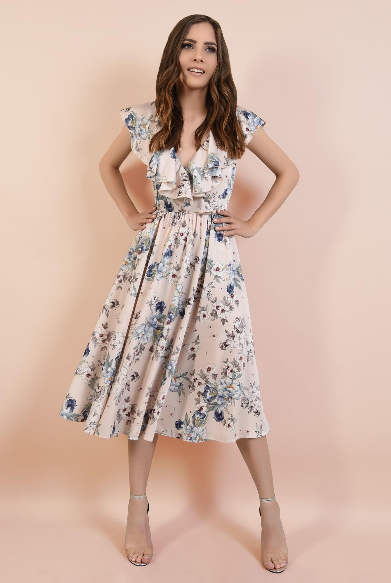3 - rochie eleganta, evazata, anchior petrecut, maneci volan, imprimata, Poema
