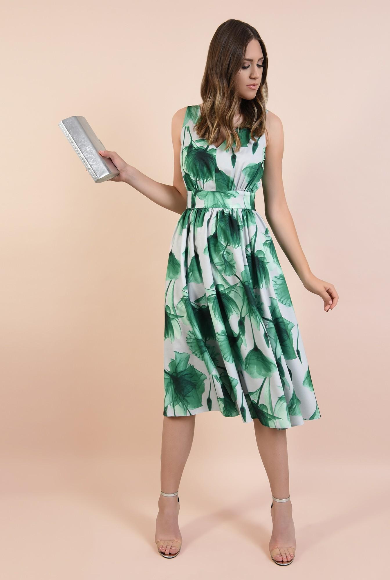 3 - rochie eleganta, midi, clos, cu flori, fara maneci, Poema, talie cu betelie, spate decoltat