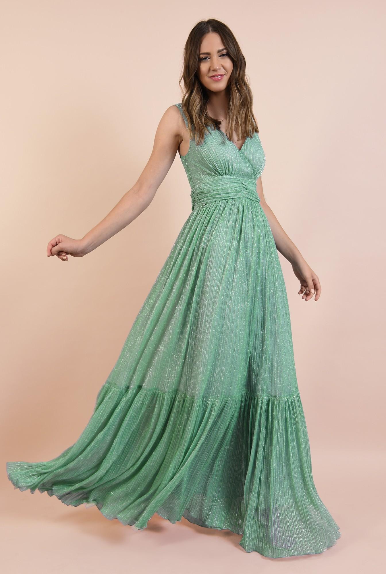 3 - rochie de seara, lunga, lurex, verde menta, volan la baza, Poema