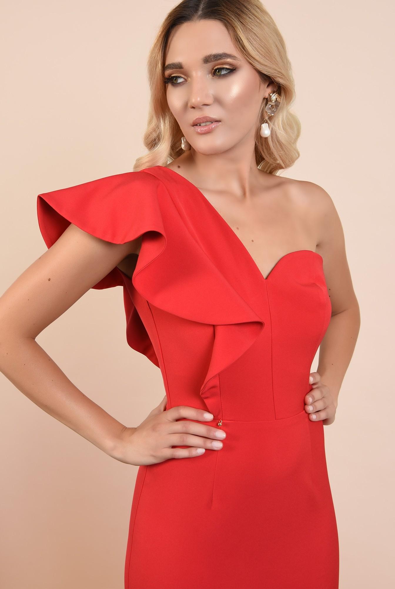 2 - 360 - rochie rosie, de ocazie, midi, conica, decolteu inima