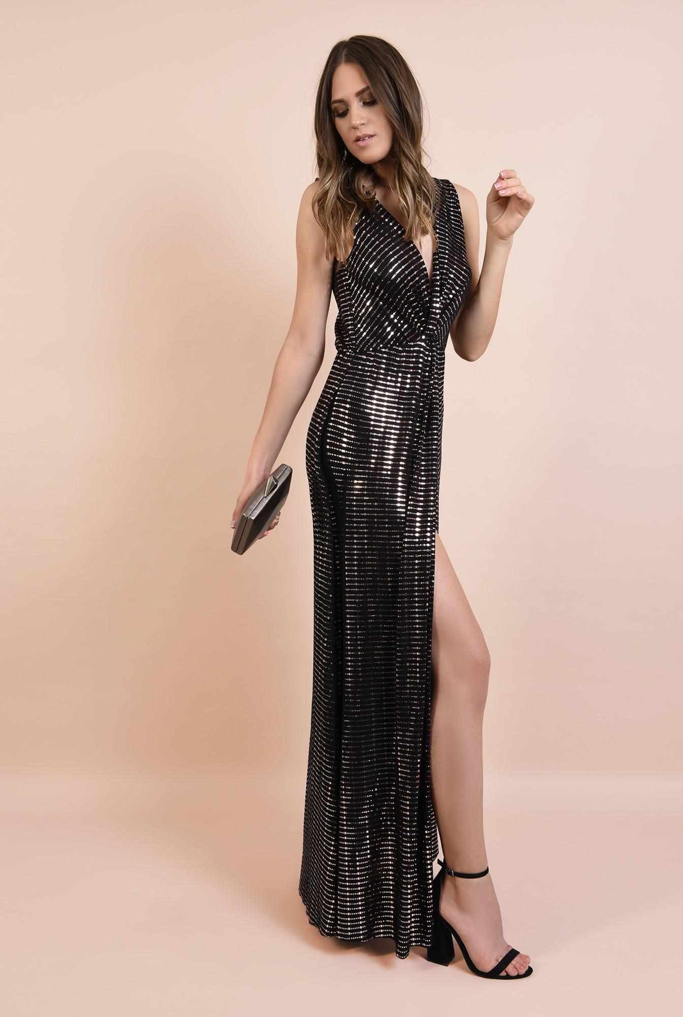 3 - 360 - rochie de seara, lunga, din lurex cu detalii aurii, anchior, croi petrecut, Poema