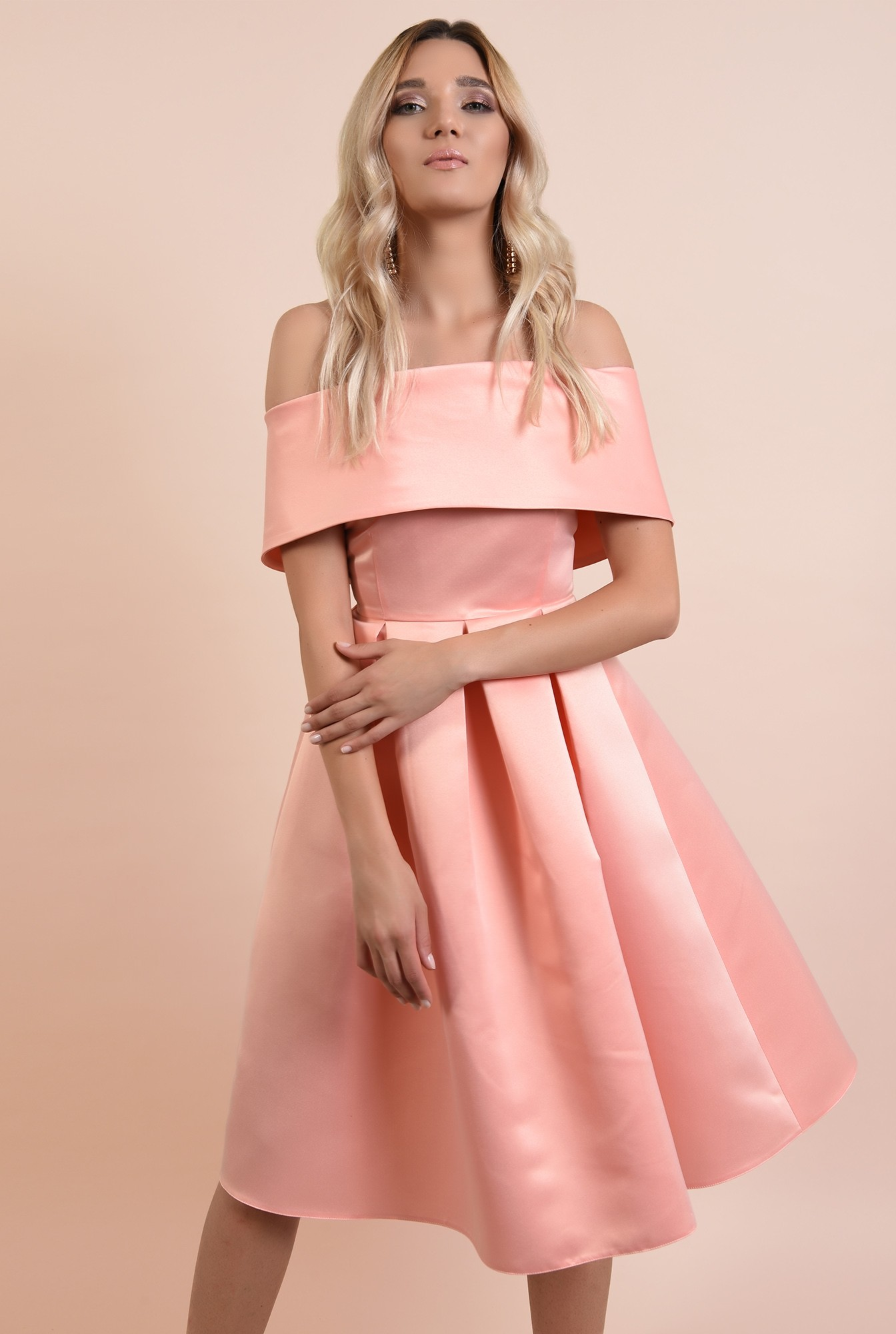 0 - 360 - rochie de ocazie, roz somon, midi, cu pliuri panou, Poema, umeri goi