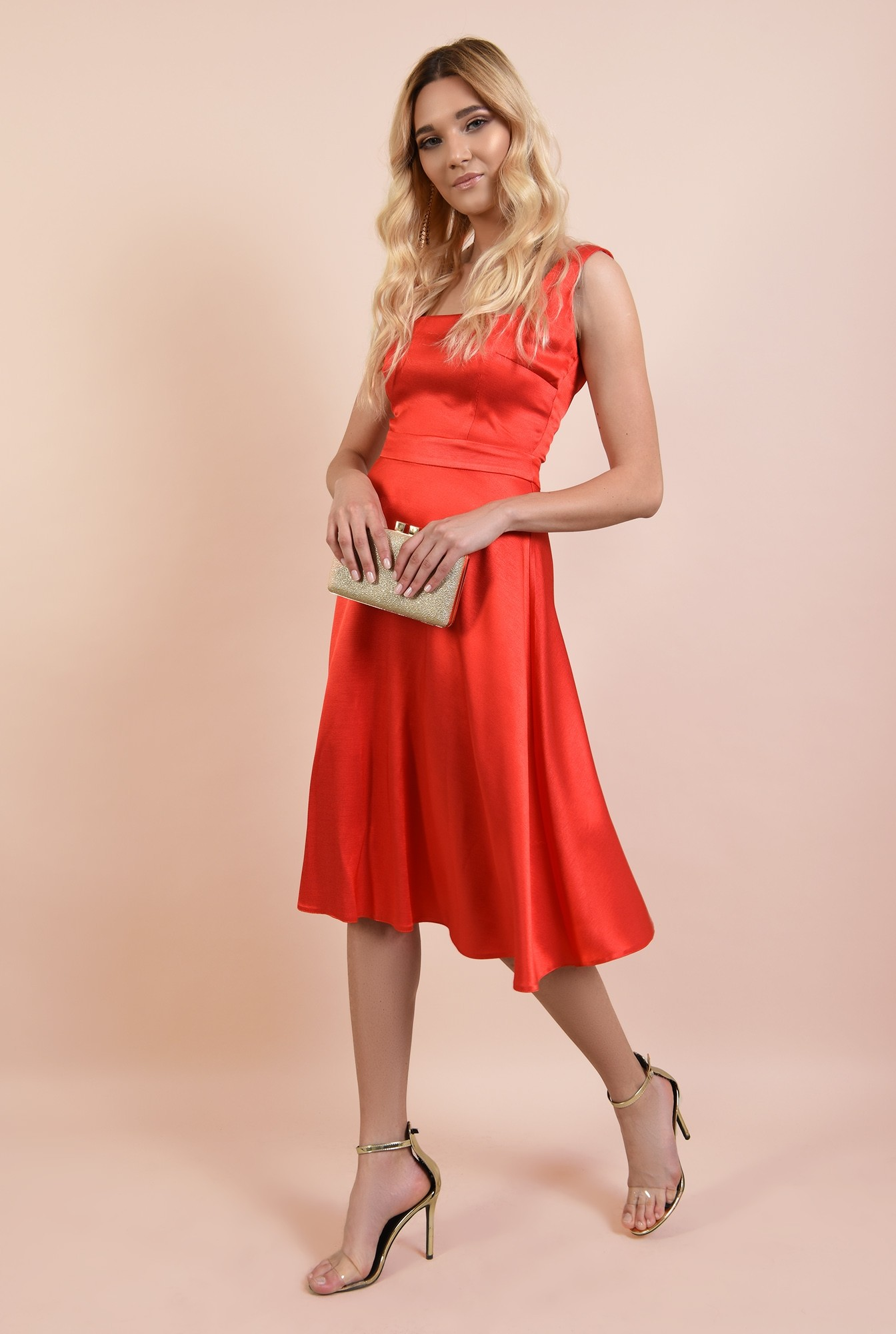 3 - rochie de ocazie, Poema, corai, cu bretele, evazata, rochii online