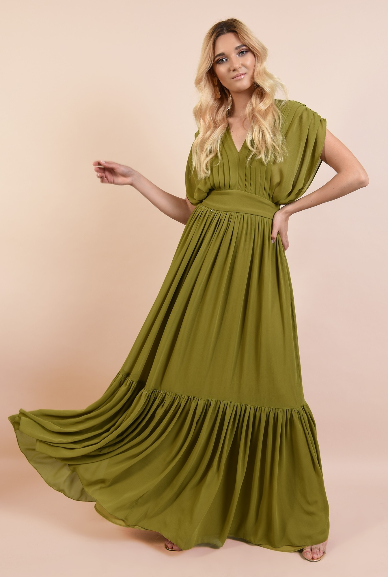 0 - rochie de seara, Poema, fronsata, talie cu betelie, pense inguste verticale, spate cu snur