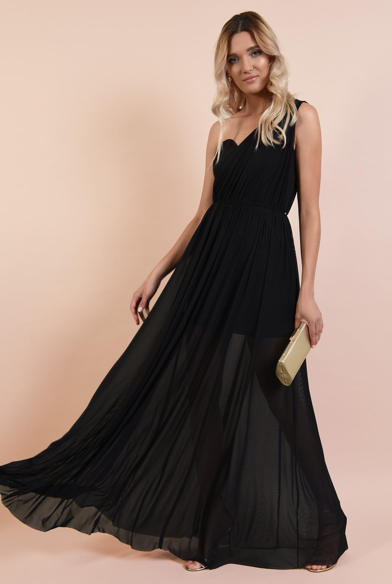 3 - rochie eleganta, decolteu inima, croi evazat, fusta transparenta