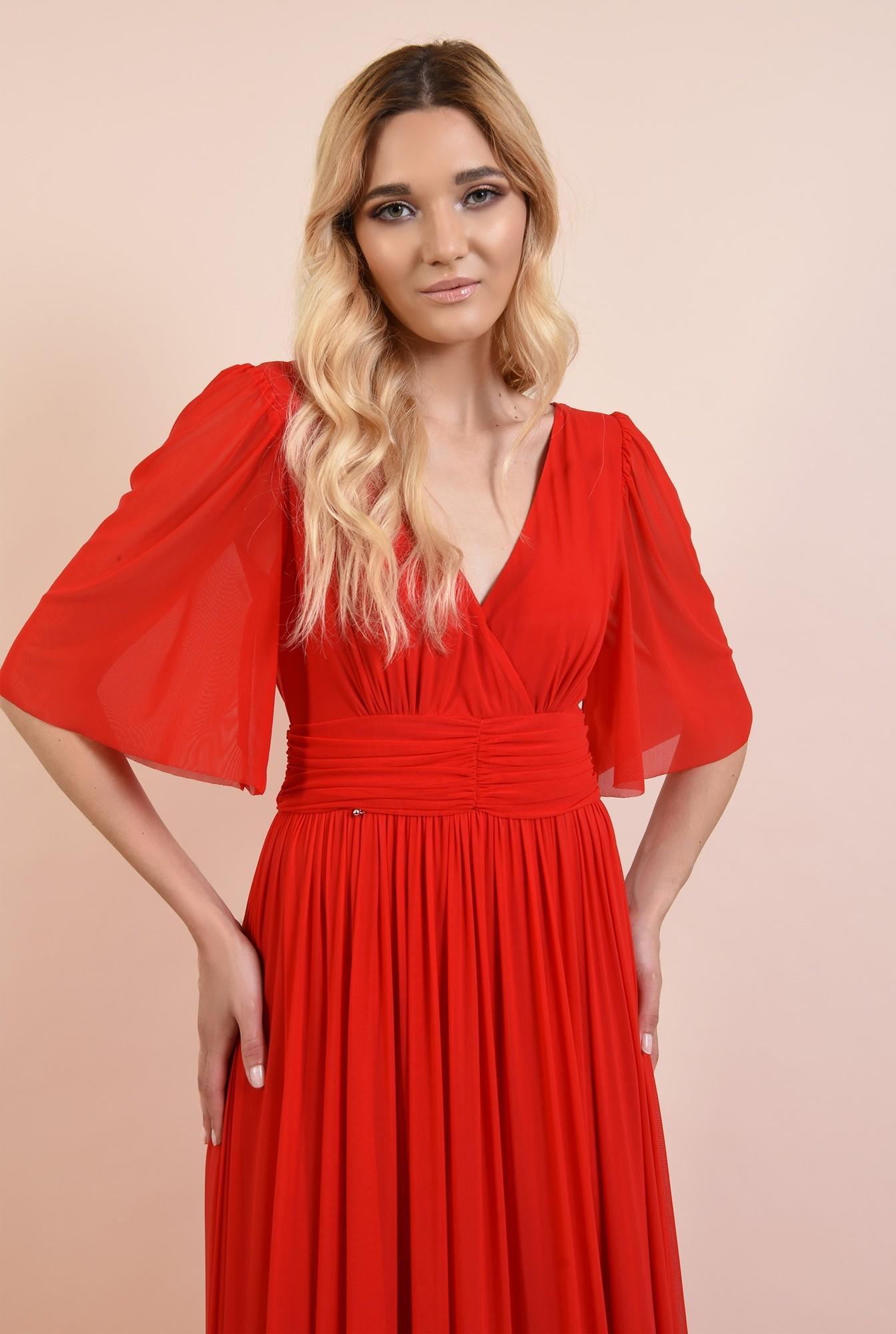 2 - rochie rosie, lunga, de seara, anchior, evazata, maneci fluture, Poema