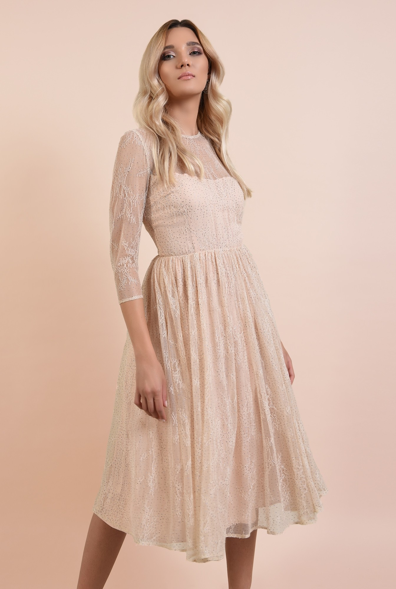 0 - rochie eleganta, crem, din tulle, cu top din dantela, nude, broderie florala fina, Poema