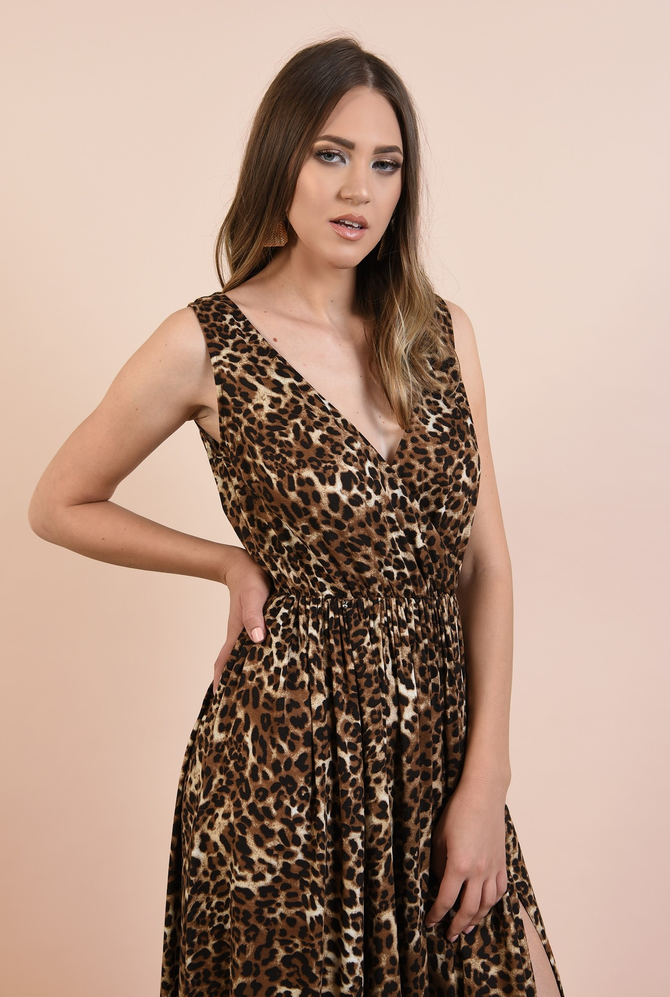 2 - rochie de ocazie, cu imprimeu leopard, maxi, evazata, cu crapeu, funda la spate