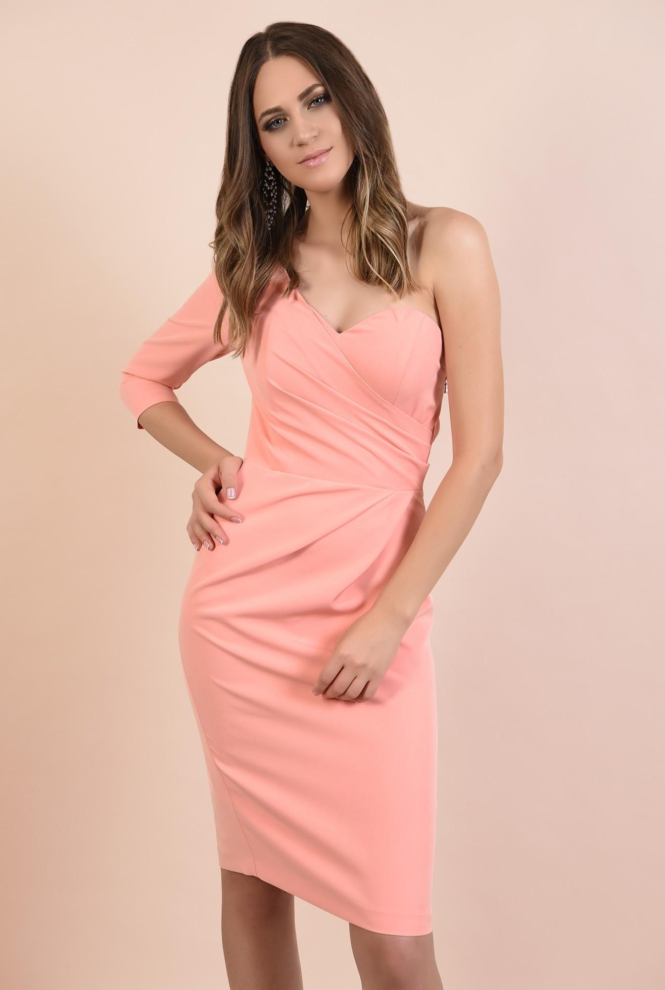 0 - rochie eleganta, decolteu inima, o maneca, croi conic, midi, Poema, roz somon