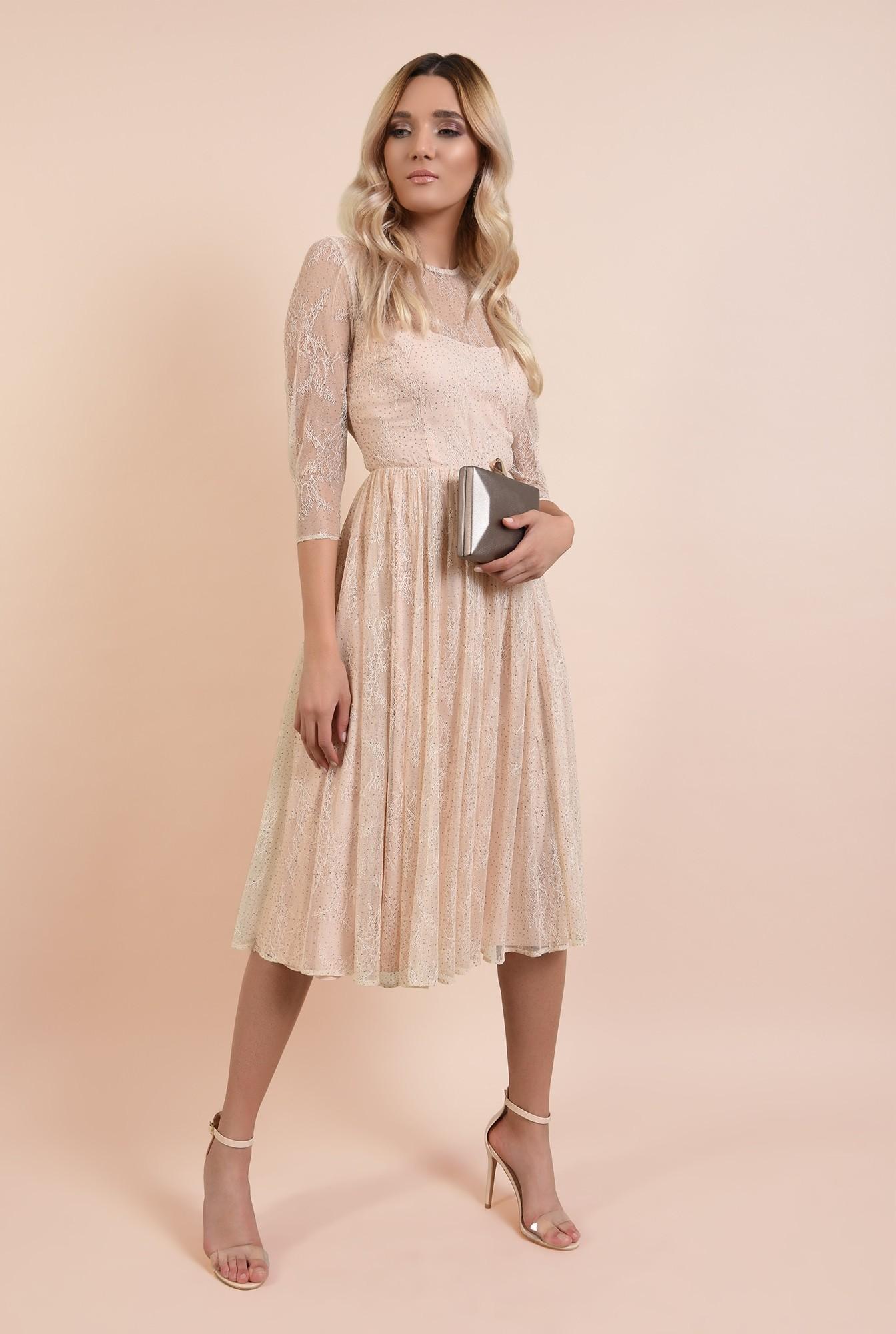 3 - rochie eleganta, crem, din tulle, cu top din dantela, nude, broderie florala fina, Poema
