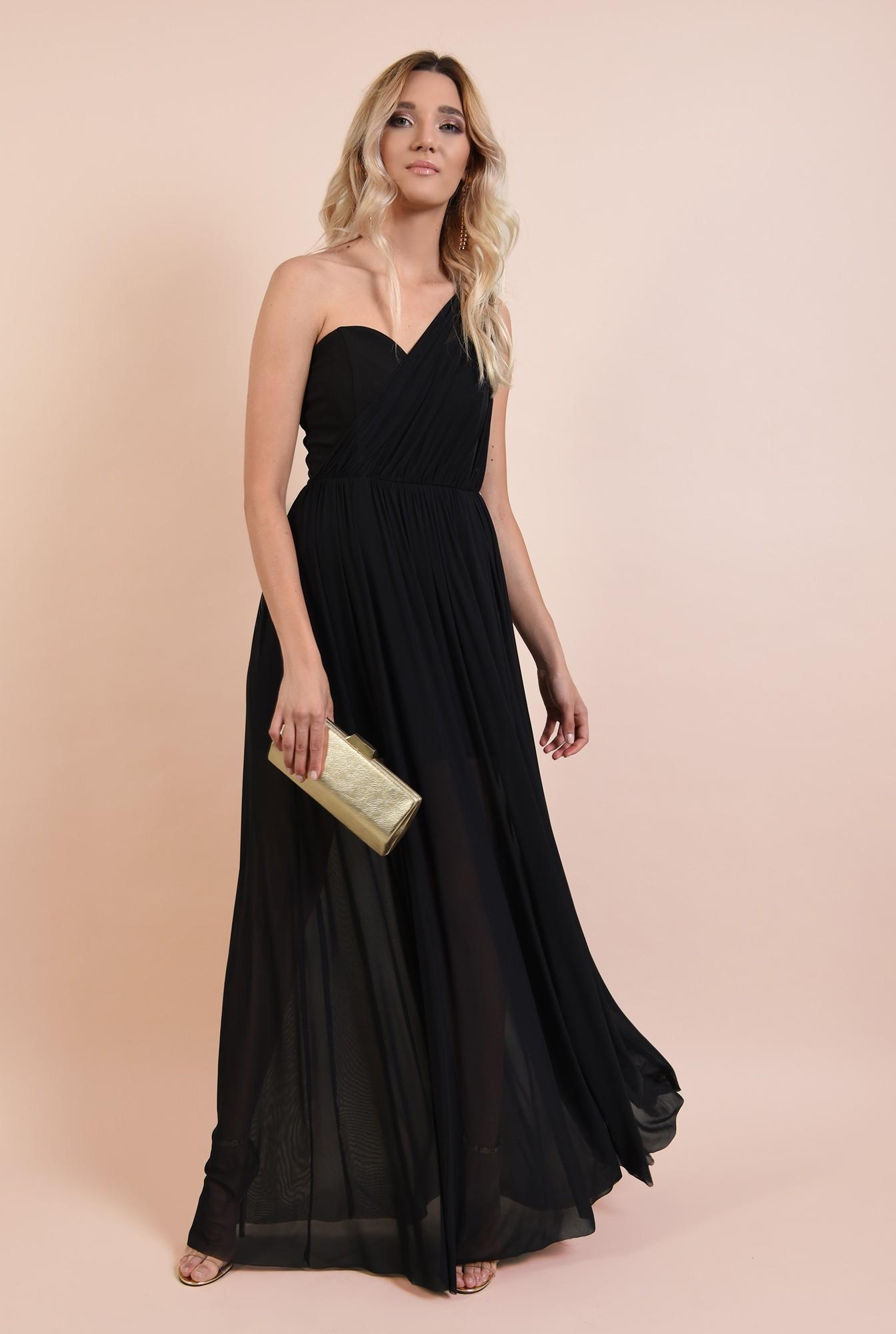 0 - rochie eleganta, decolteu inima, croi evazat, fusta transparenta