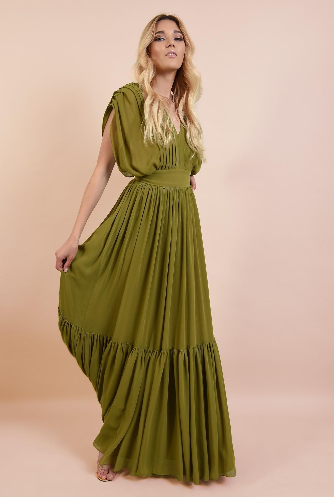 3 - rochie de ocazie, lunga, din voal, pliuri decorative, fara maneci, volan amplu, despicata pe parti