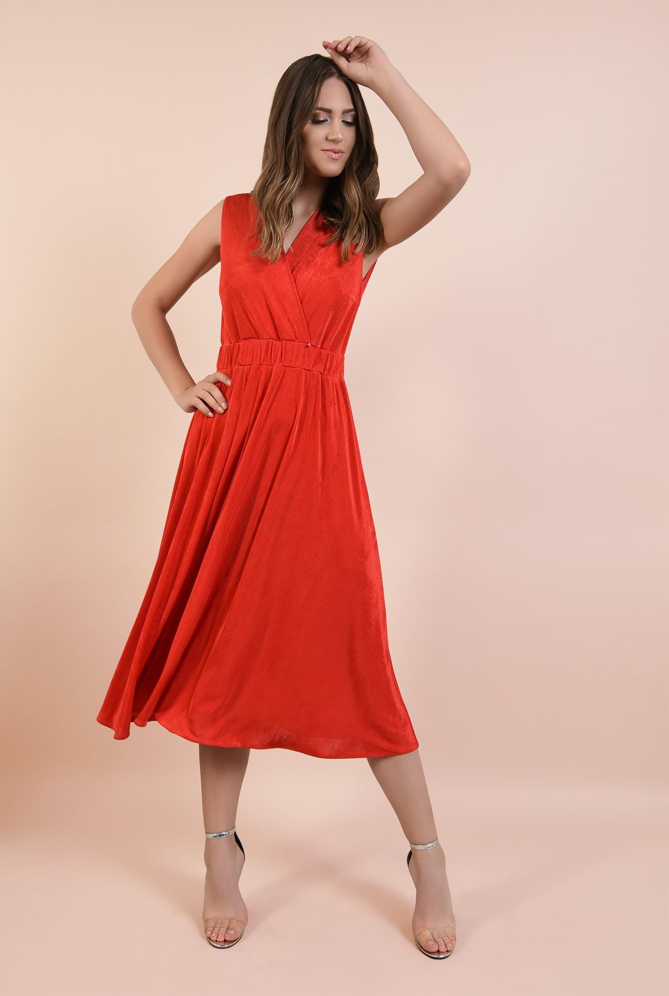 0 - rochie de seara, rosie, midi, evazata, spate cu snur, decolteu anchior petrecut