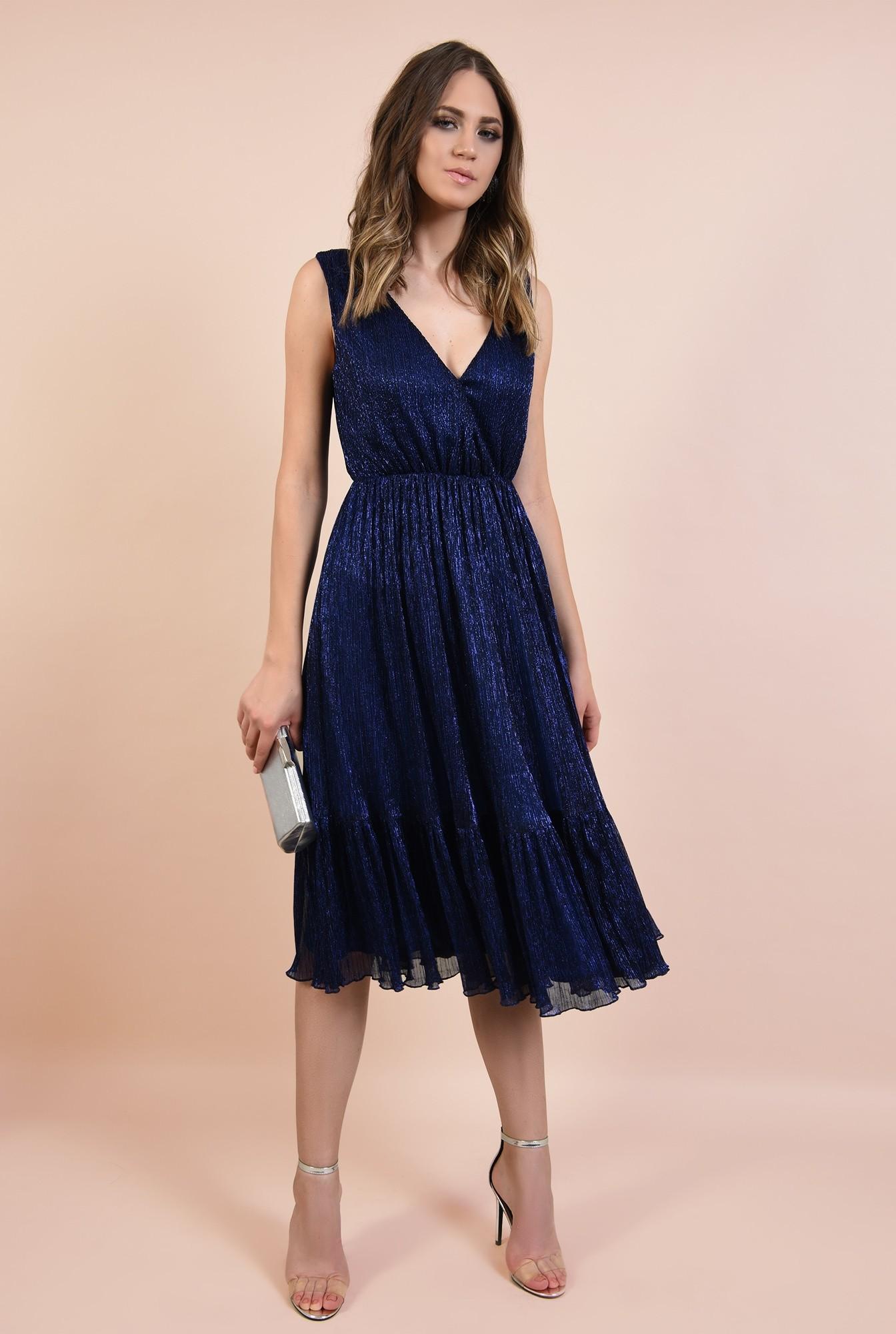 3 - rochie de seara, din lurex, elastic la talie, anchior petrecut, albastra, Poema