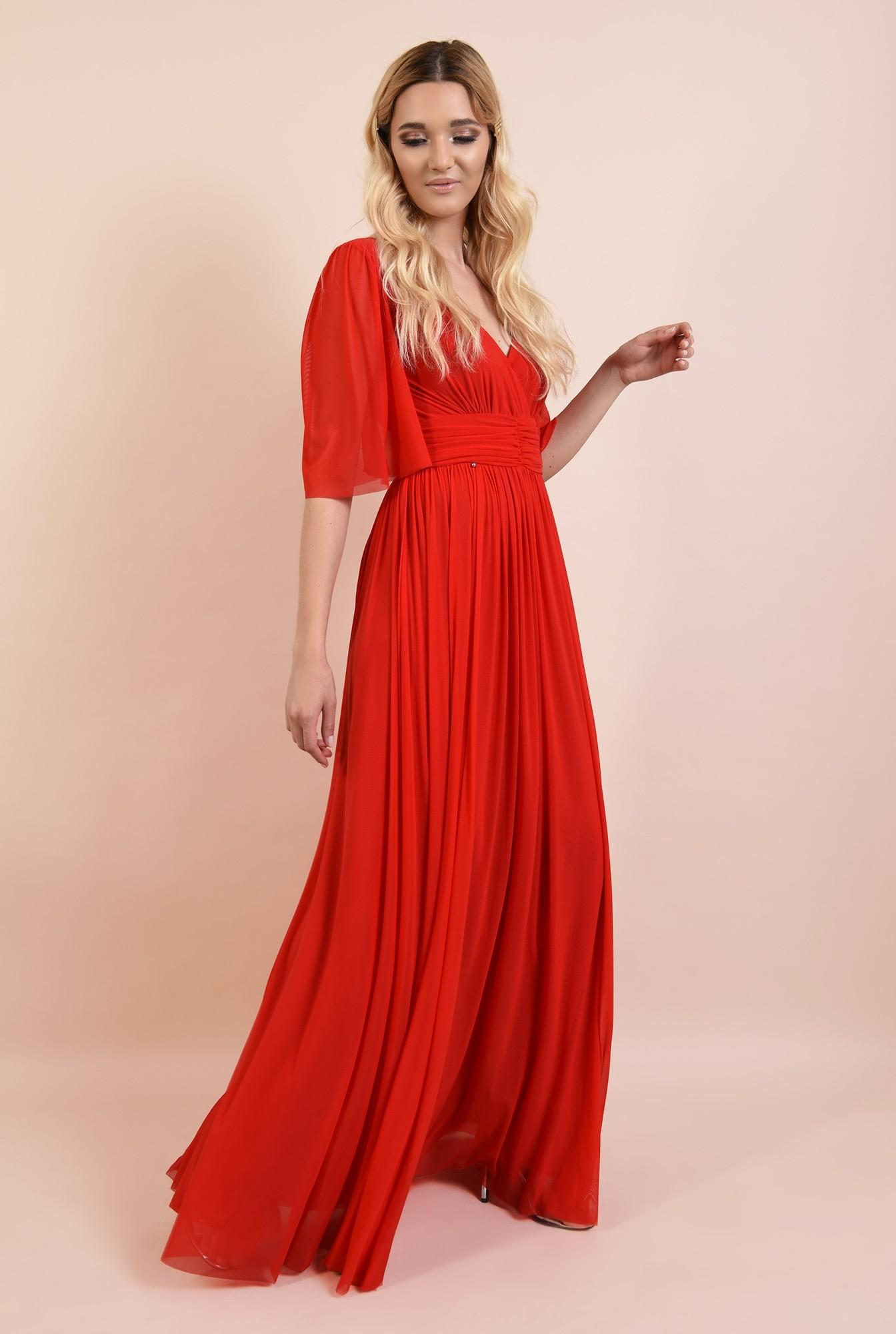 3 - rochie rosie, lunga, de seara, anchior, evazata, maneci fluture, Poema
