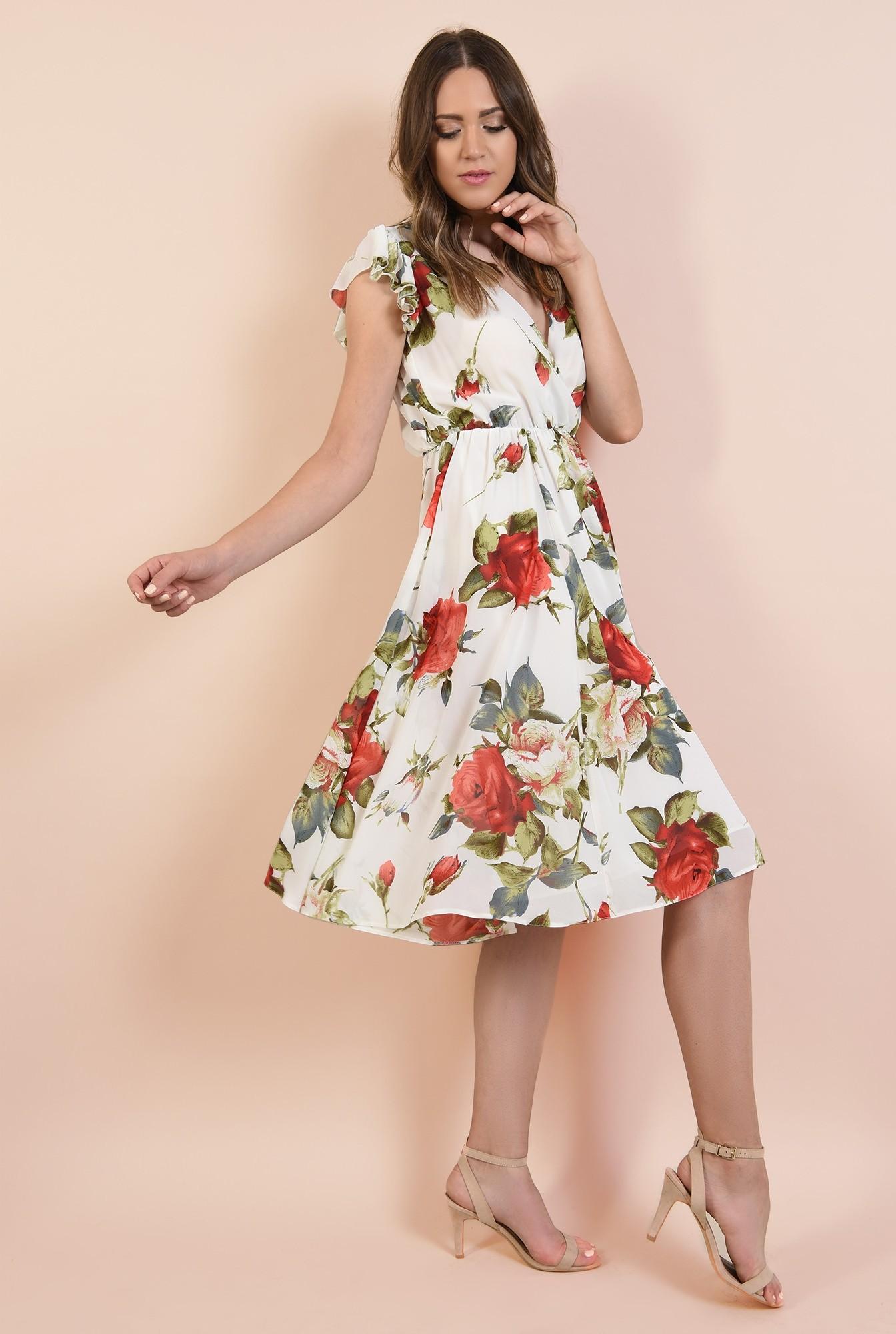 0 - rochie cu flori, de vara, midi, clos, elastic la talie, maneci tip volan