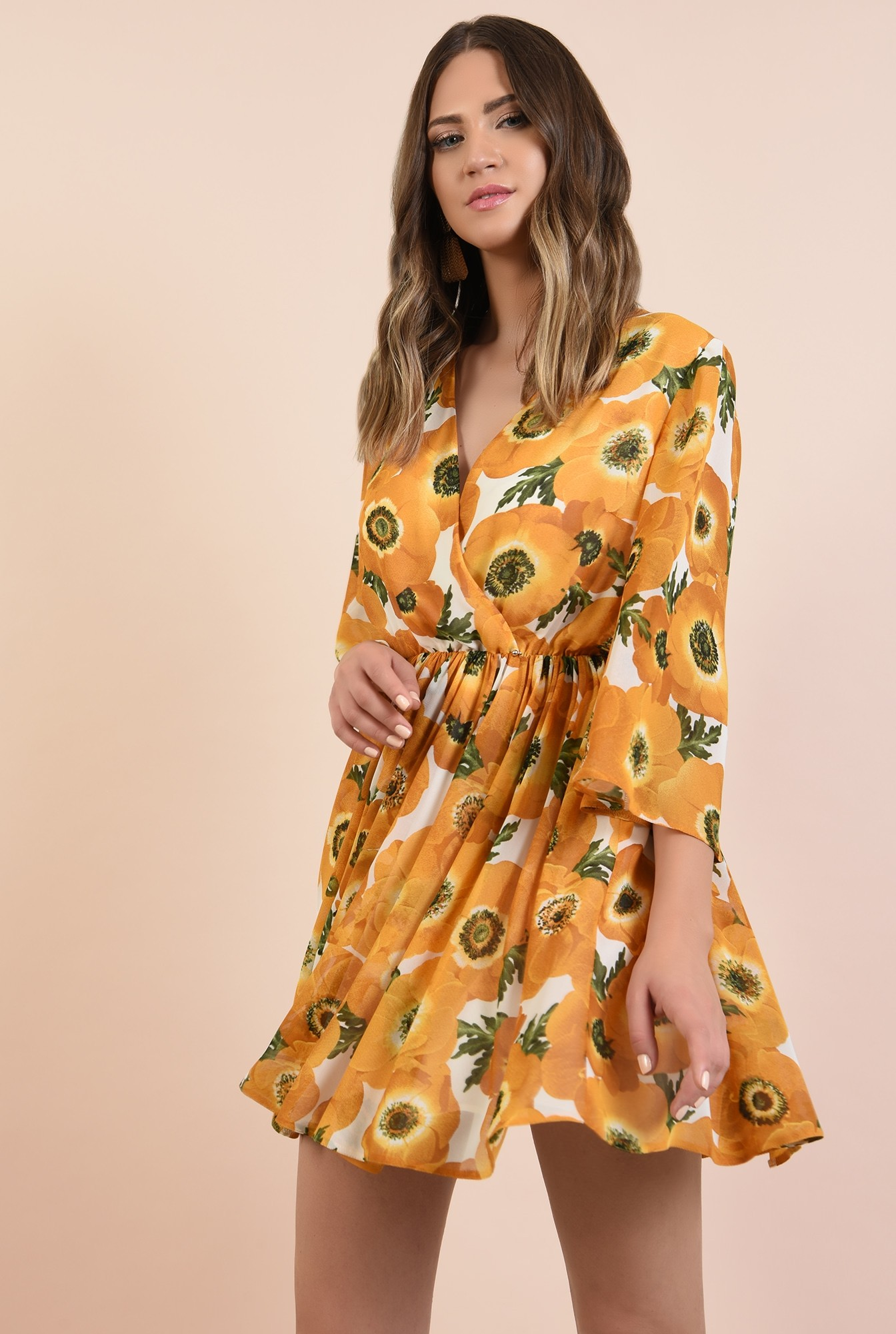 0 - 360 - rochie imprimata, casual, clos, talie pe elastic, motive florale