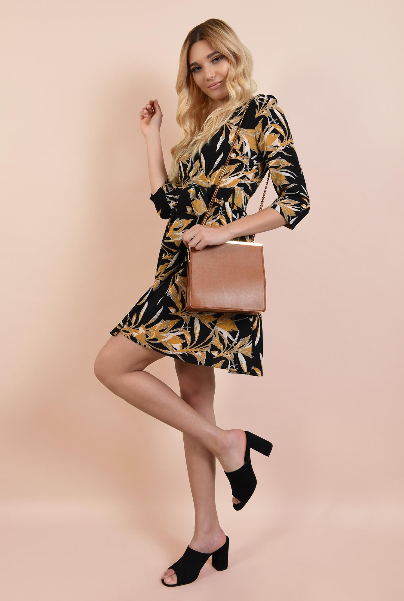 3 - 360 - rochie casual, scurta, cu print floral, anchior petrecut, Poema