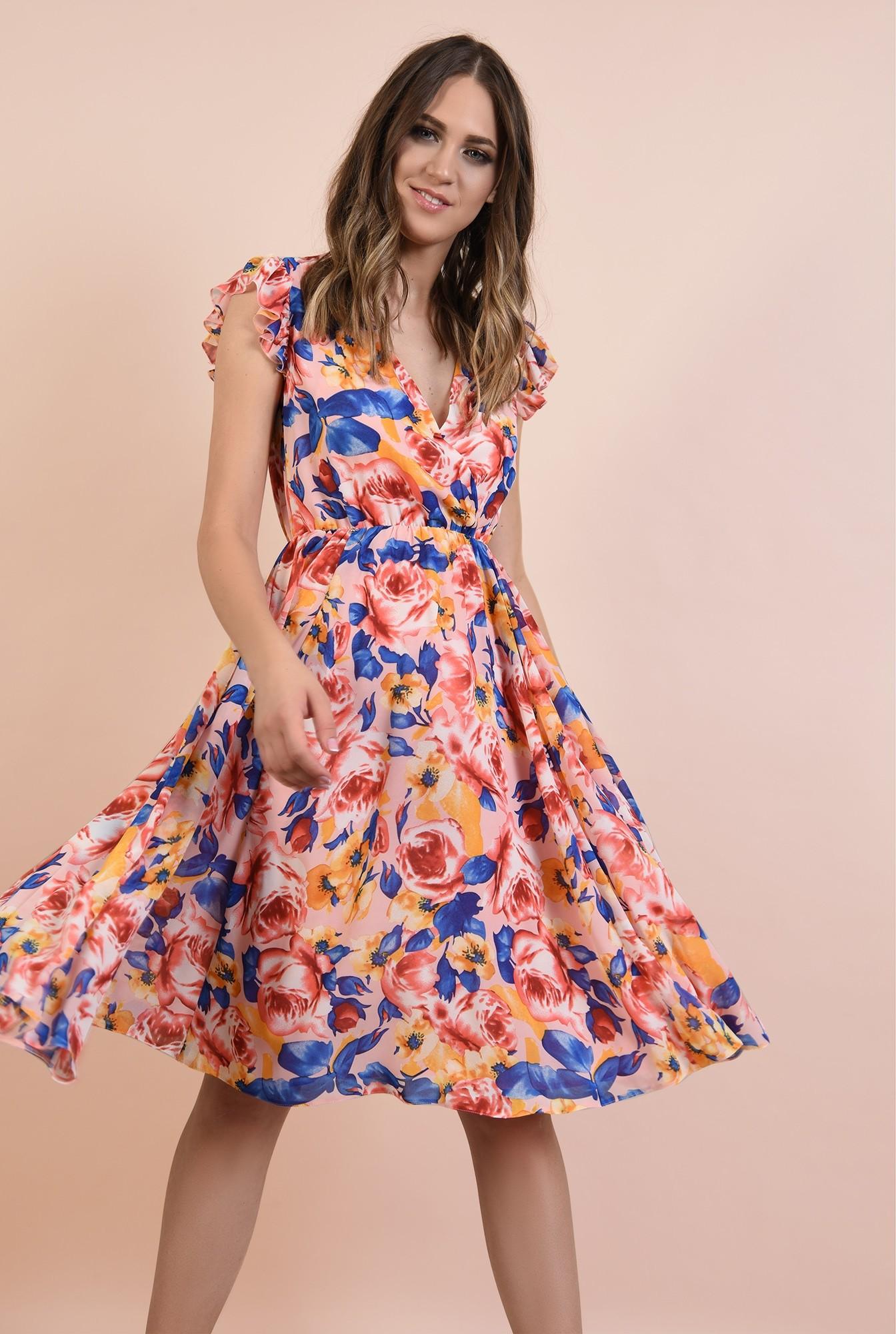2 - rochie casual, evazata, midi, talie pe elastic, imprimeu floral, Poema