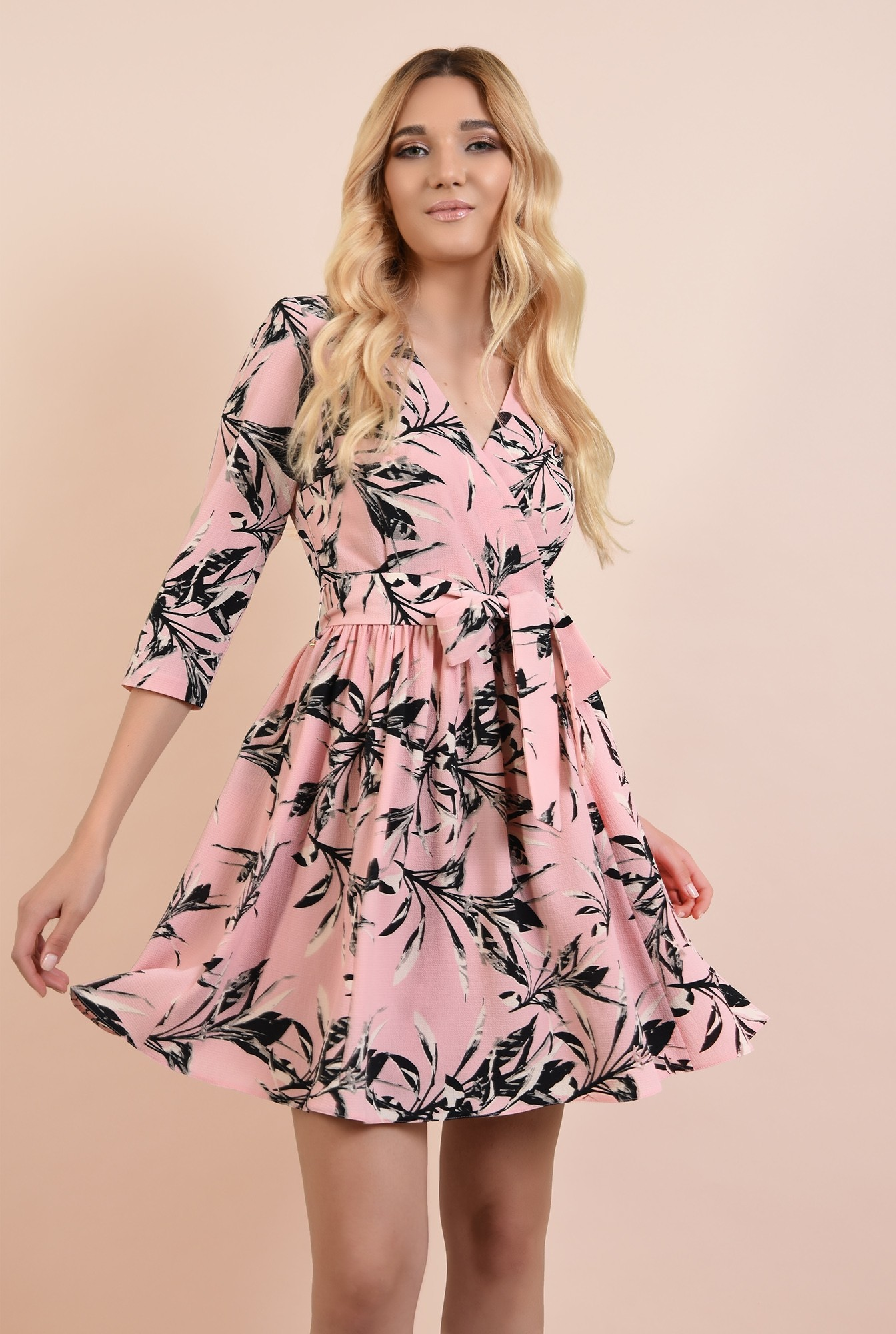 2 - rochie casual, cu flori, Poema, cu cordon, clos, anchior petrecut