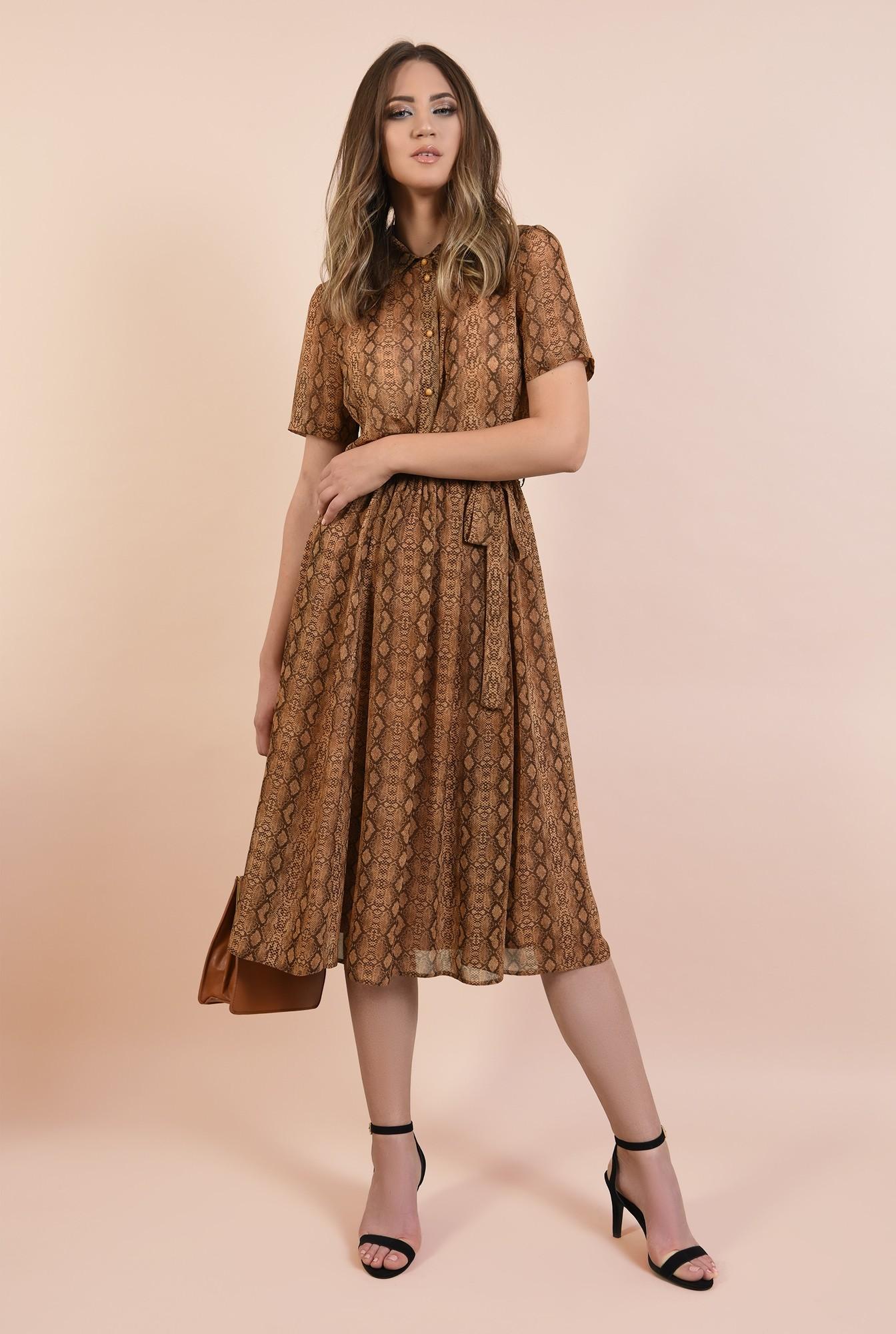 0 - rochie casual, evazata, din voal imprimat, cu guler ascutit, maneci scurte, Poema