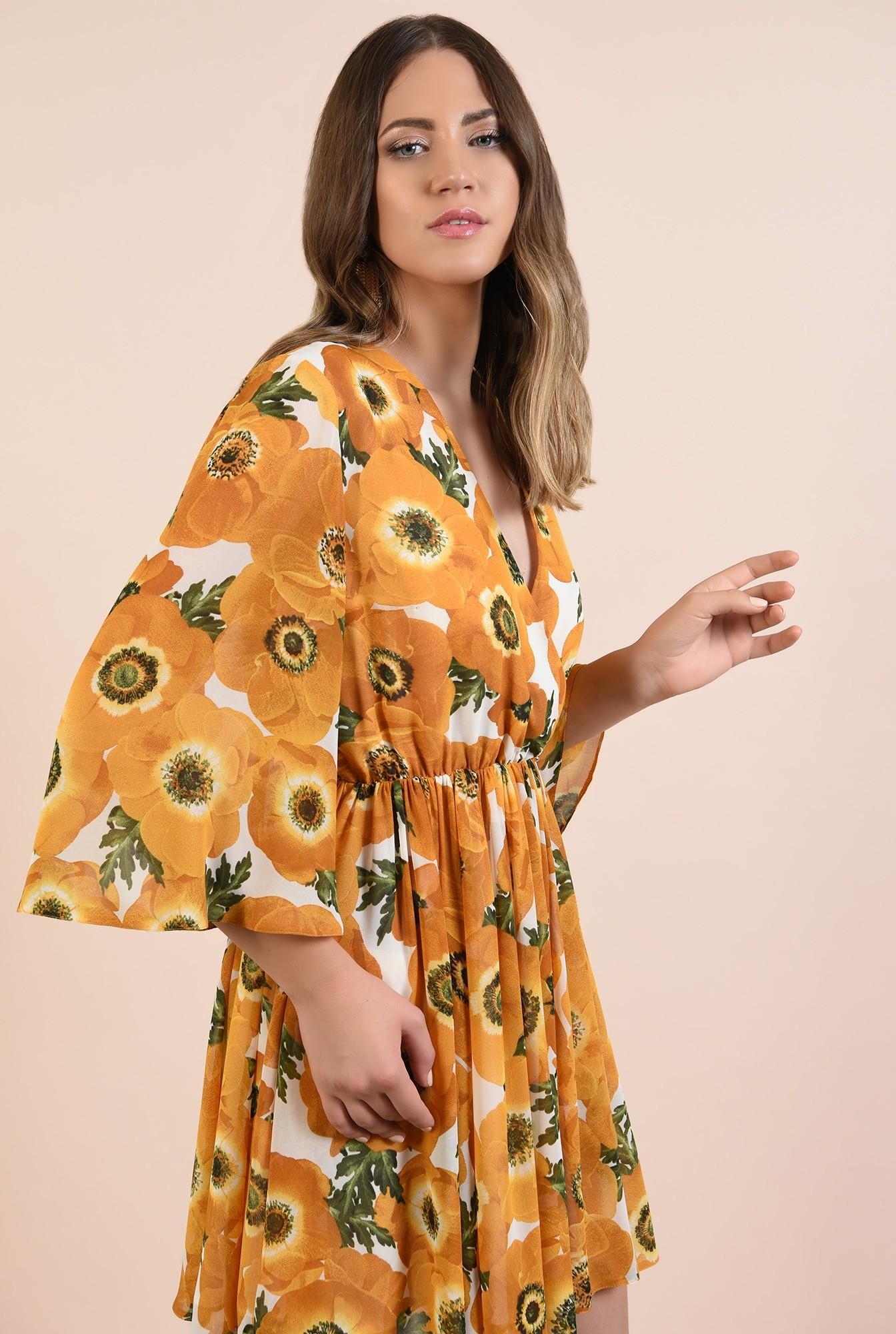 2 - 360 - rochie imprimata, casual, clos, talie pe elastic, motive florale