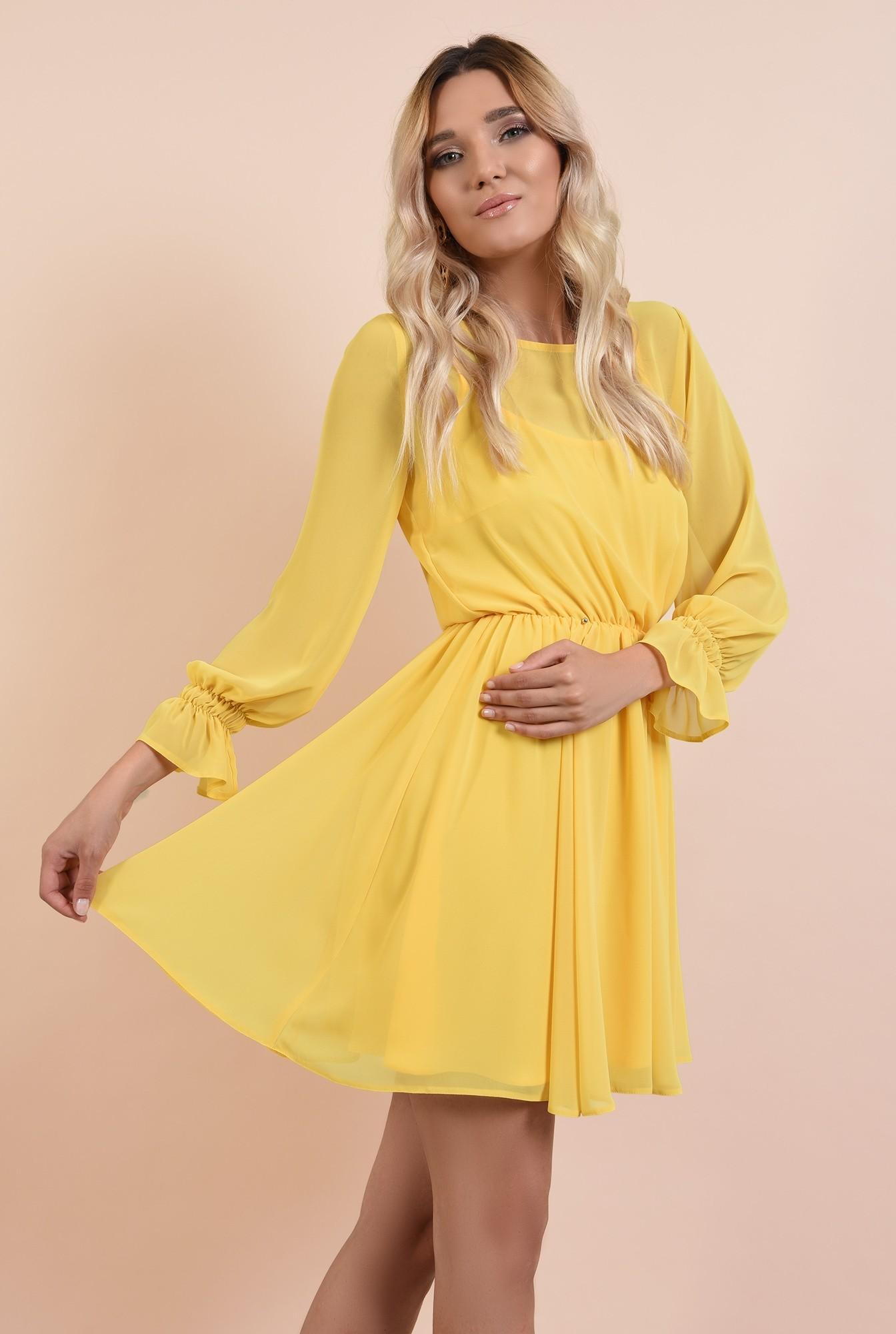 2 - rochie casual, de vara, de zi, galbena, din sifon creponat, clos, maneci lungi