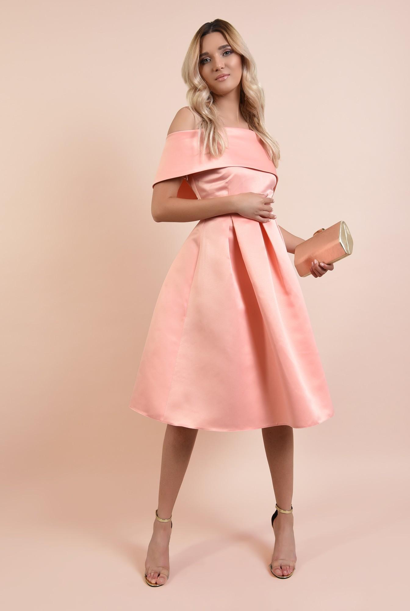 3 - 360 - rochie de ocazie, roz somon, midi, cu pliuri panou, Poema, umeri goi