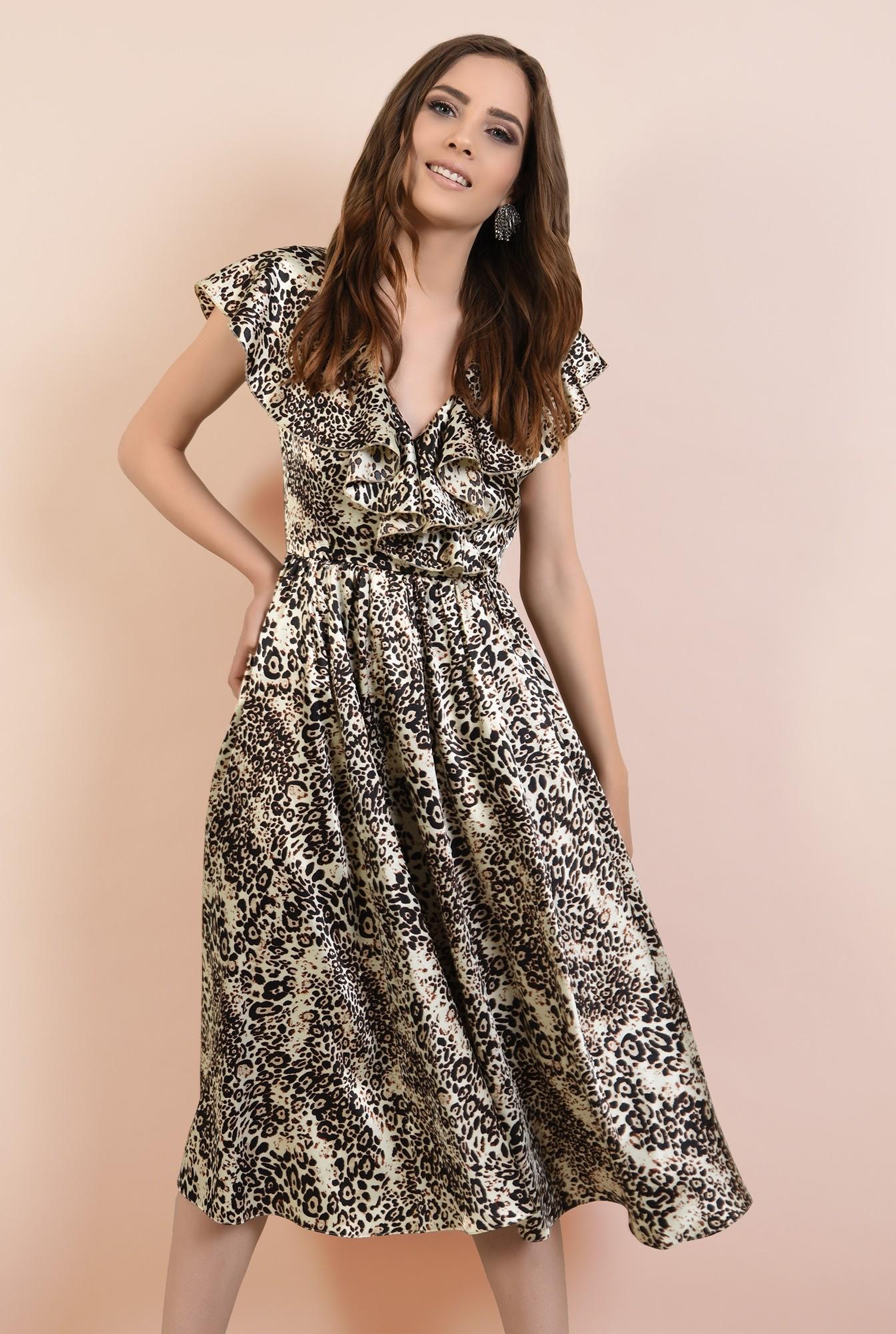 2 - rochie eleganta, din satin imprimat, cu volane, croi clos