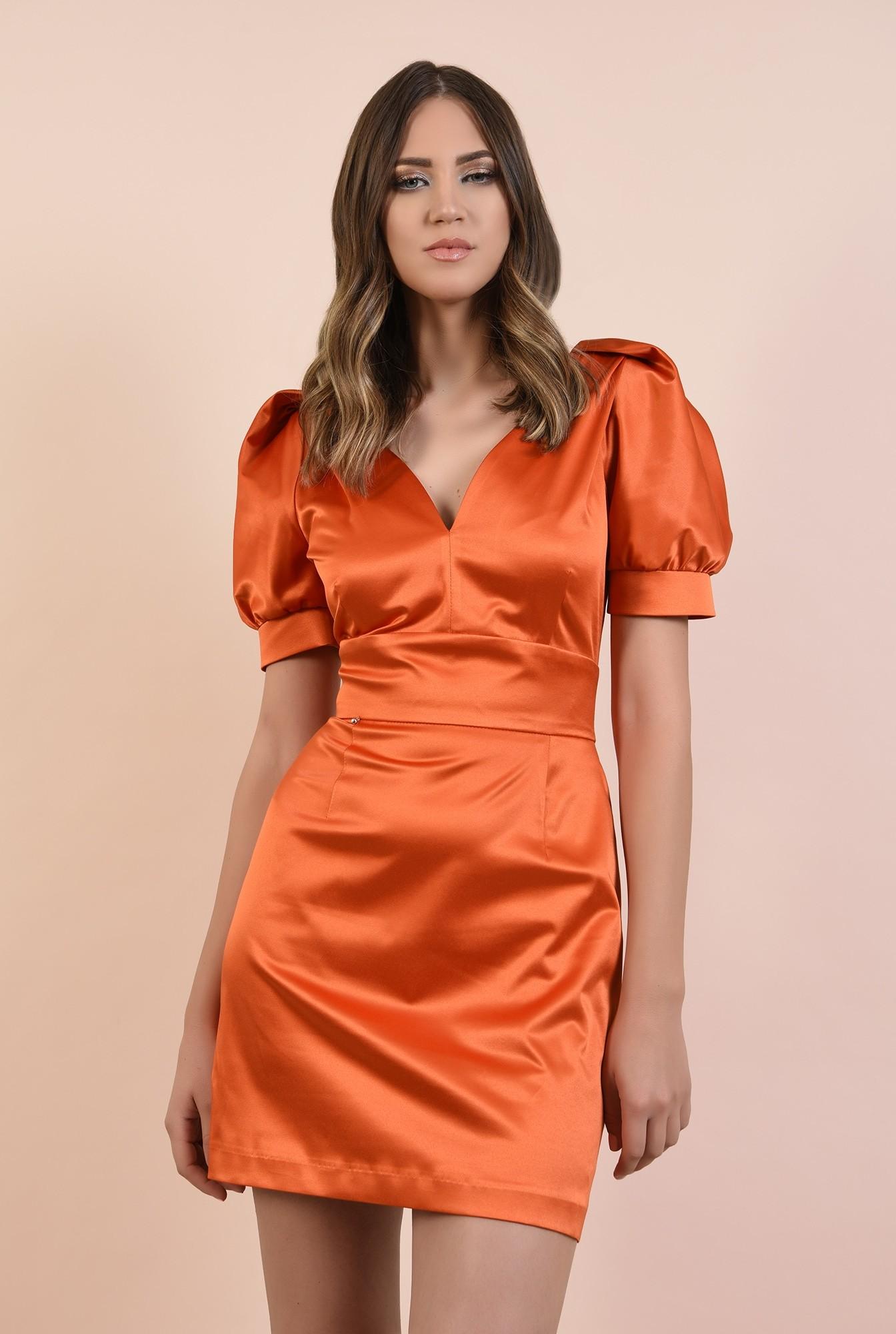2 - rochie de seara, orange, tafta de bumbac, maneci fantezie, lungime mini