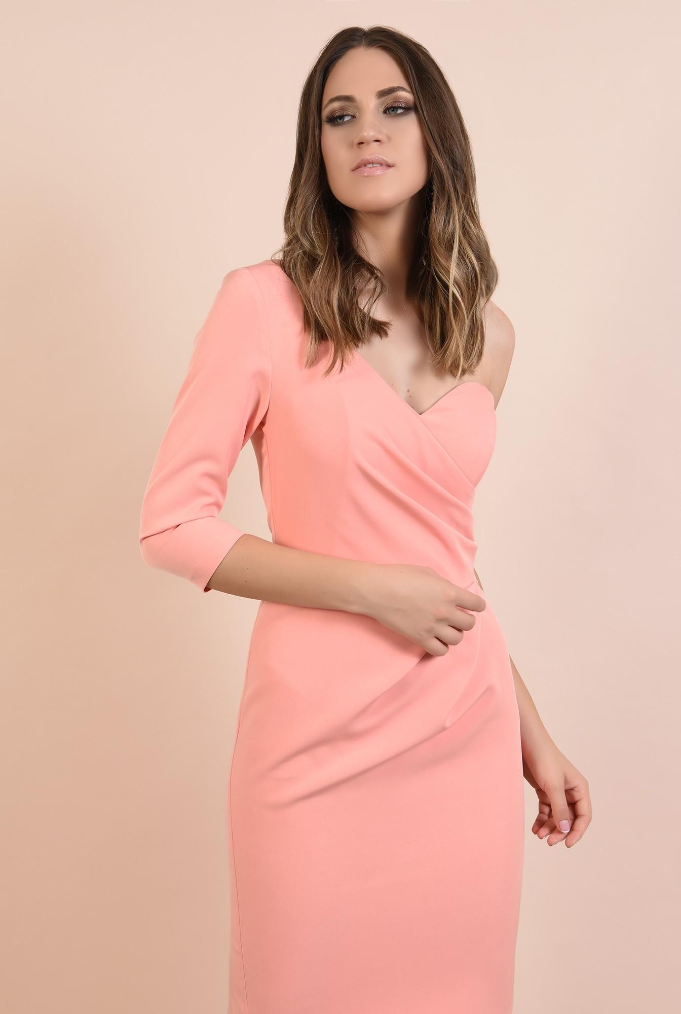 2 - rochie eleganta, decolteu inima, o maneca, croi conic, midi, Poema, roz somon