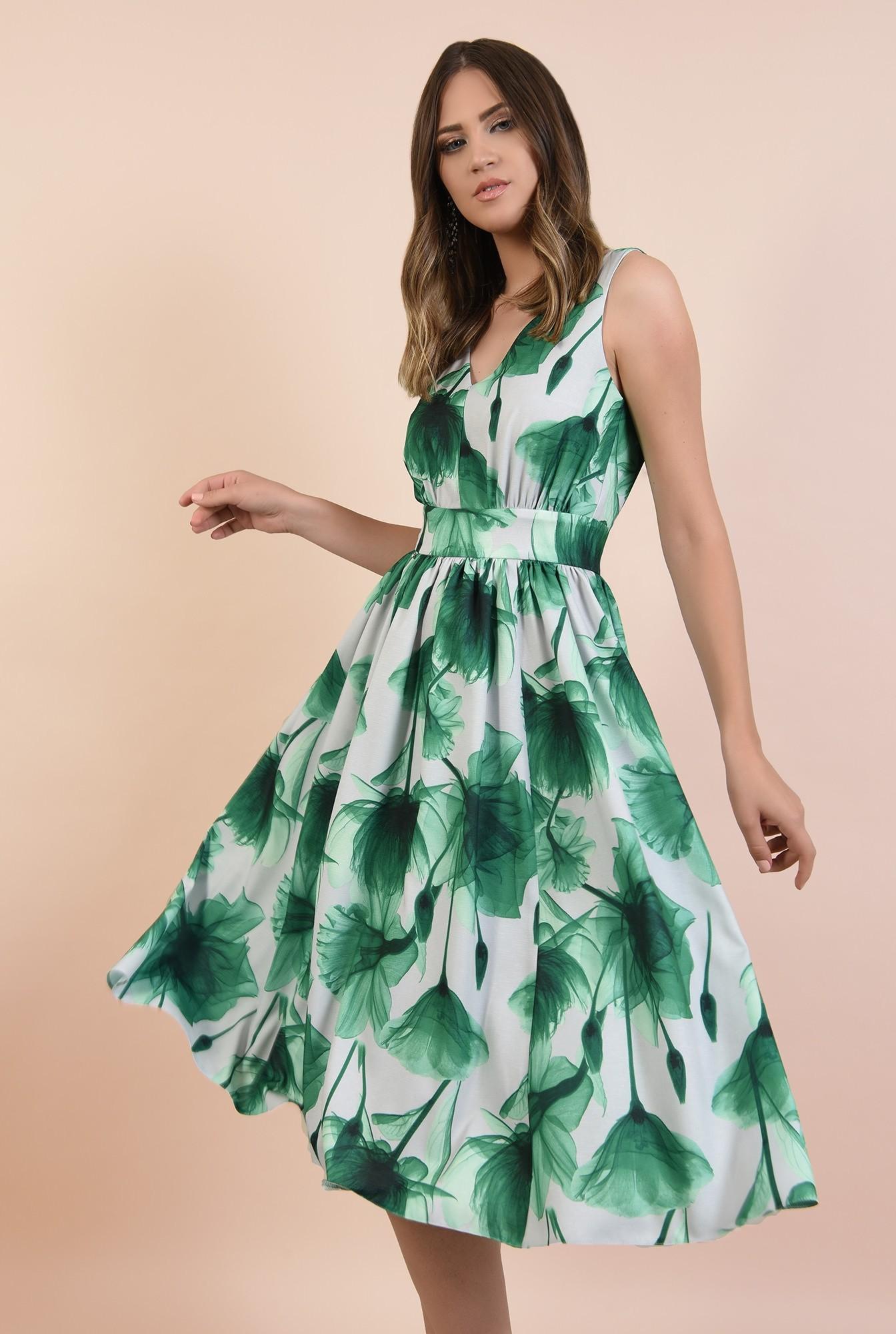 2 - rochie eleganta, midi, clos, cu flori, fara maneci, Poema, talie cu betelie, spate decoltat