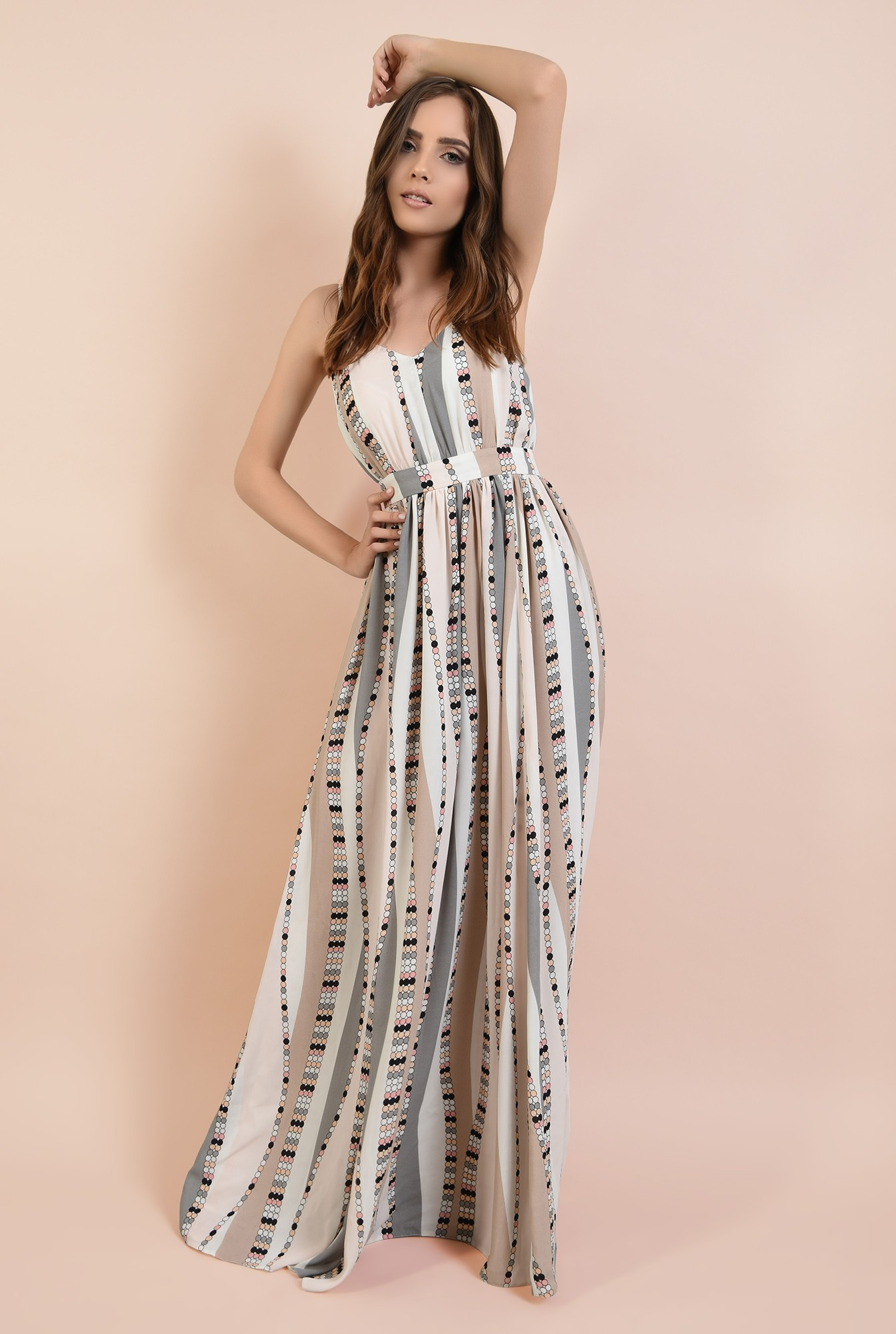 3 - 360 - rochie de ocazie, lunga, cu bretele, croi evazat, talie cu betelie, Poema