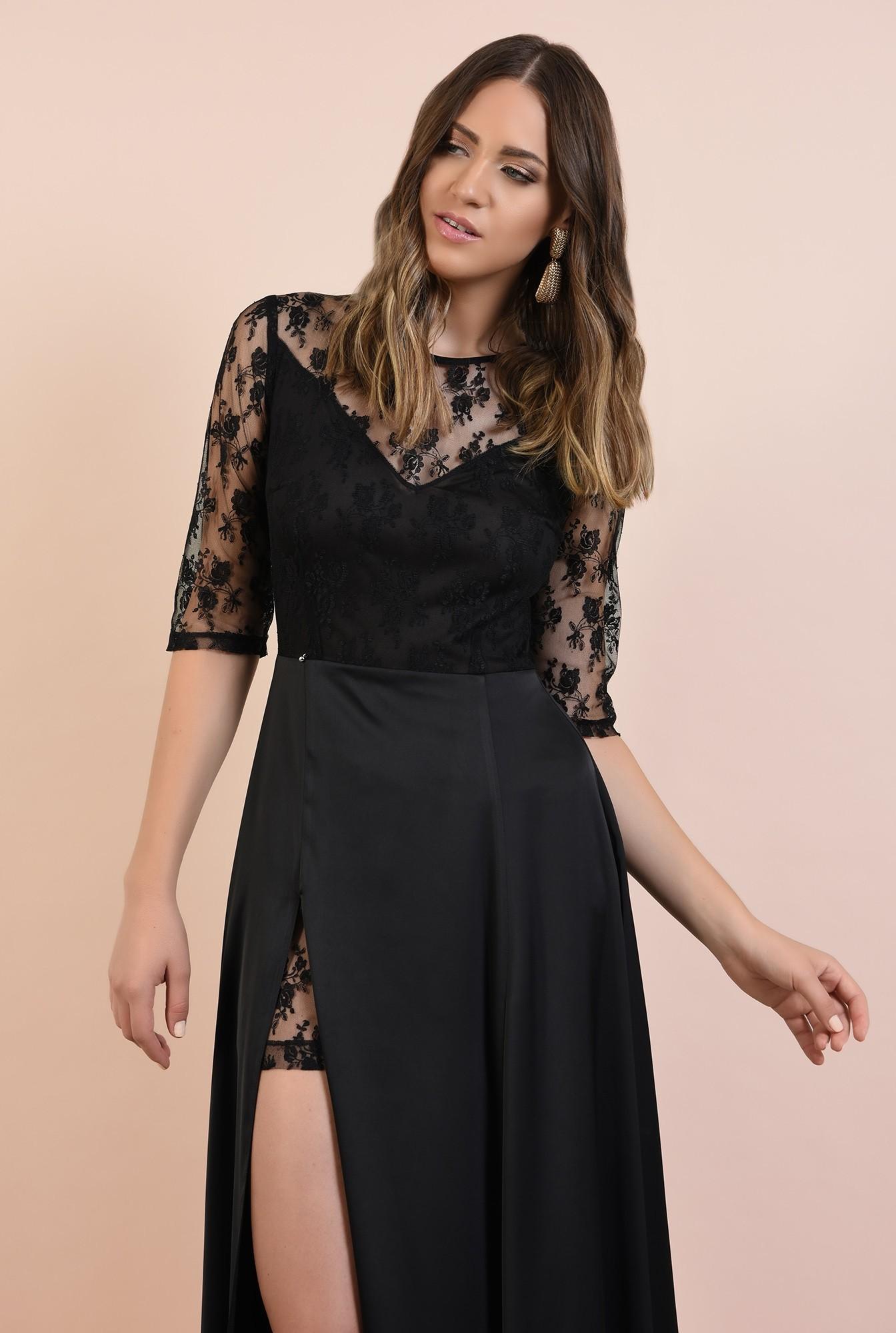 2 - rochie de seara, neagra, lunga, cu crapeu, din dantela, satin