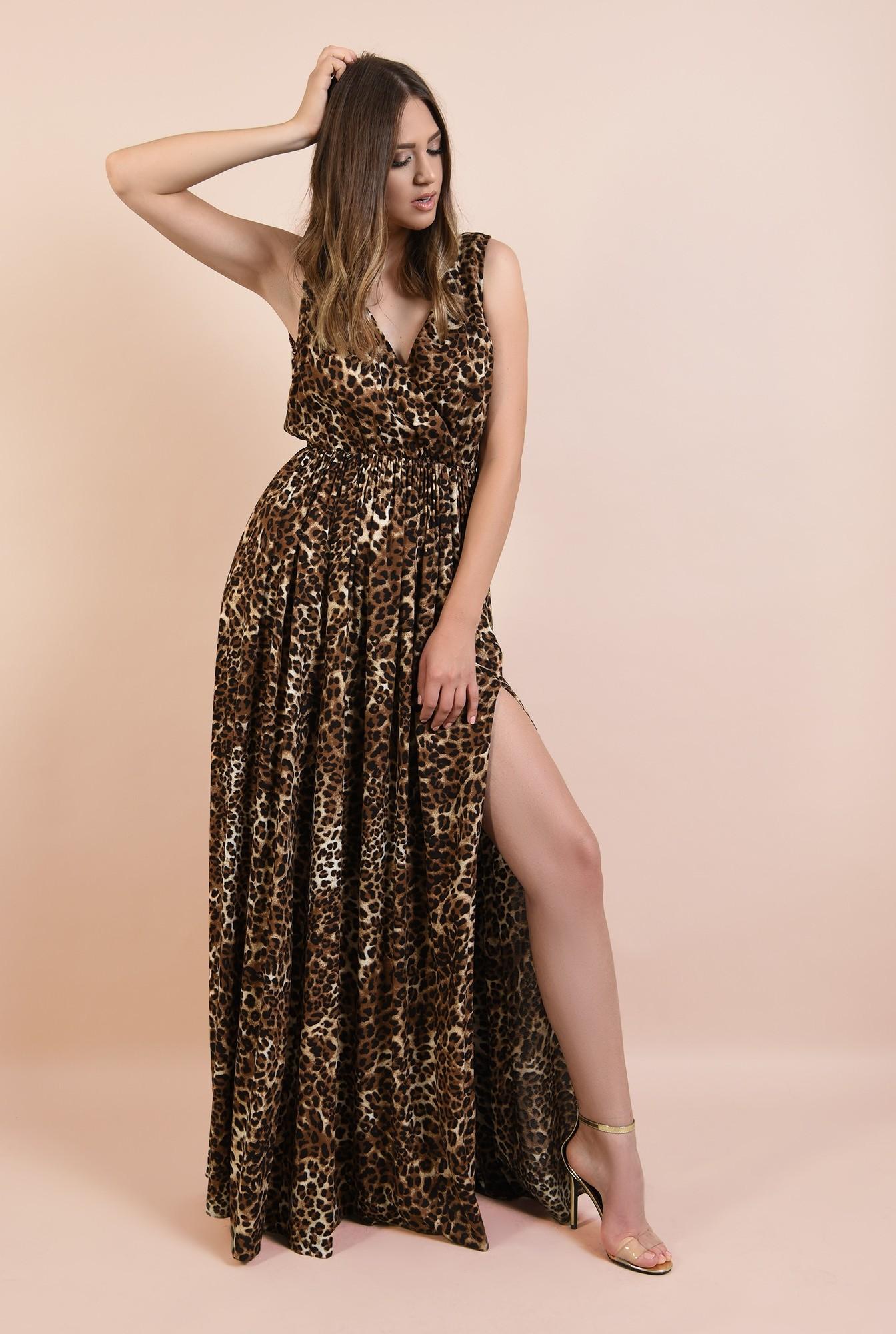 3 - rochie de ocazie, cu imprimeu leopard, maxi, evazata, cu crapeu, funda la spate