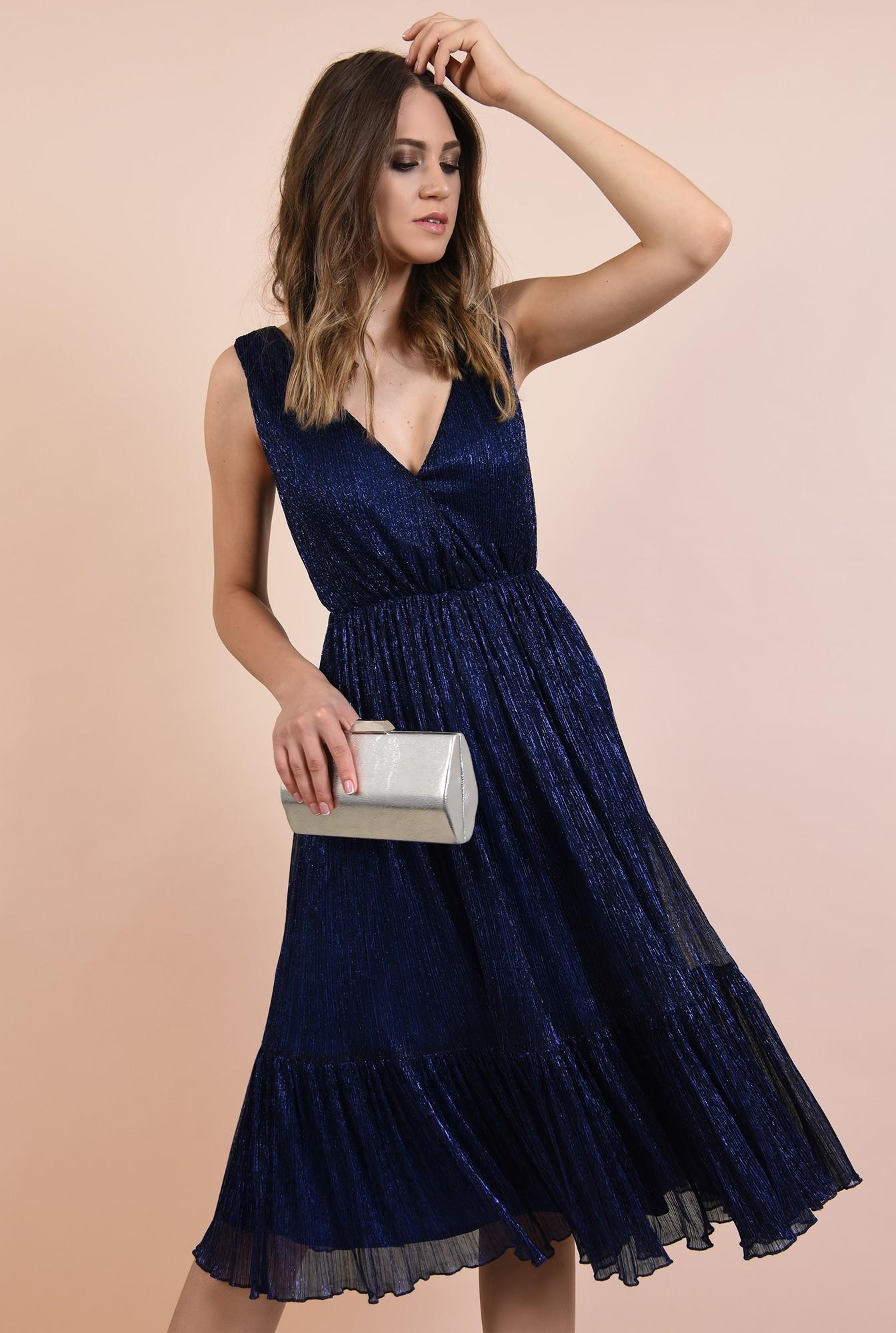 2 - rochie de seara, din lurex, elastic la talie, anchior petrecut, albastra, Poema