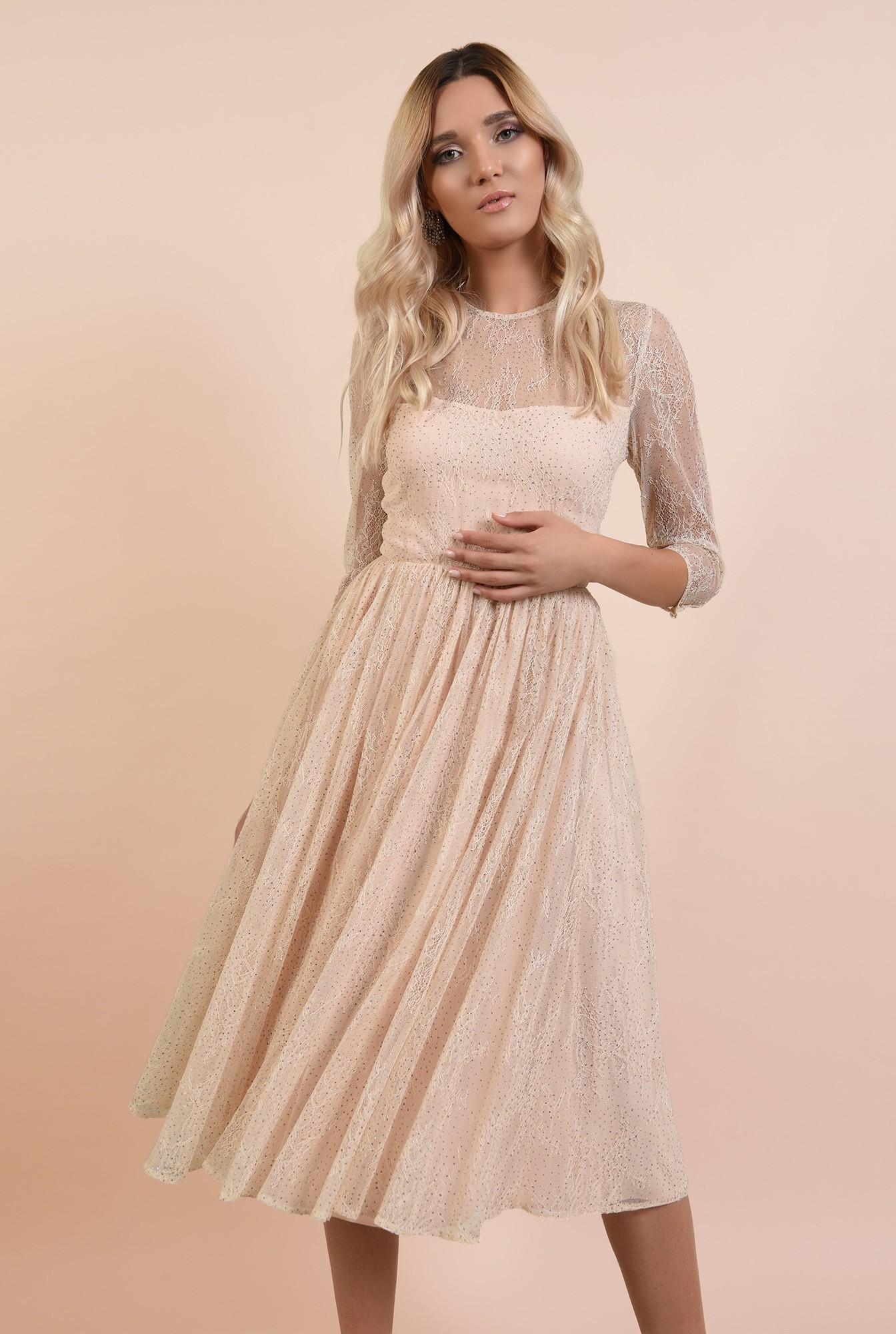 2 - rochie eleganta, crem, din tulle, cu top din dantela, nude, broderie florala fina, Poema