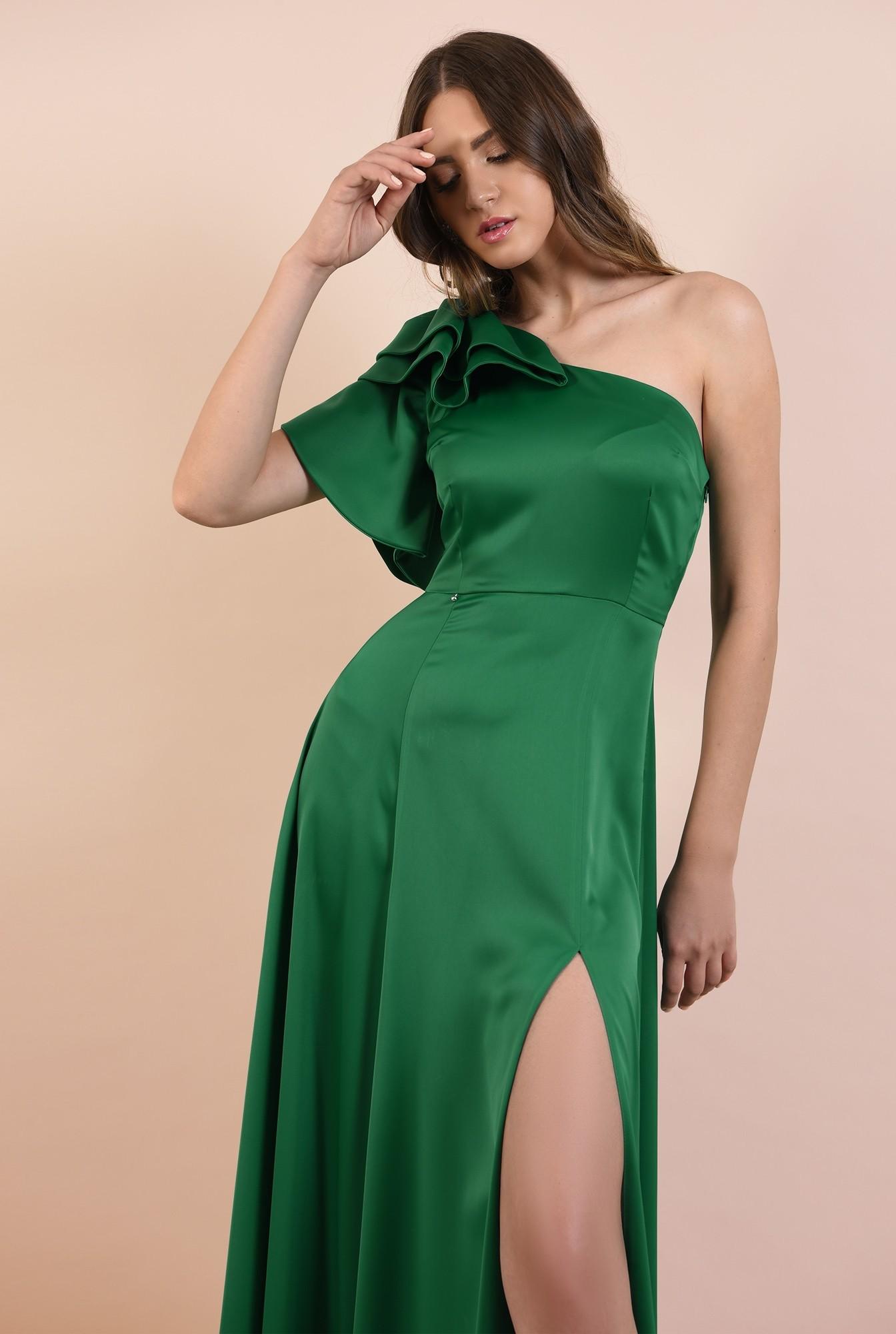 2 - rochie de ocazie, lunga, verde, cu crapeu, cu volane la umar, maneca lalea