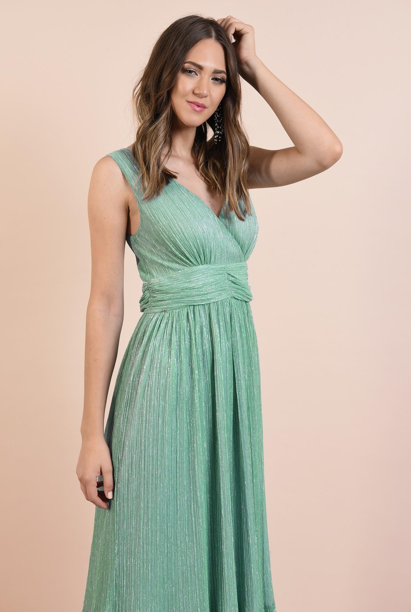 2 - rochie de seara, lunga, lurex, verde menta, volan la baza, Poema