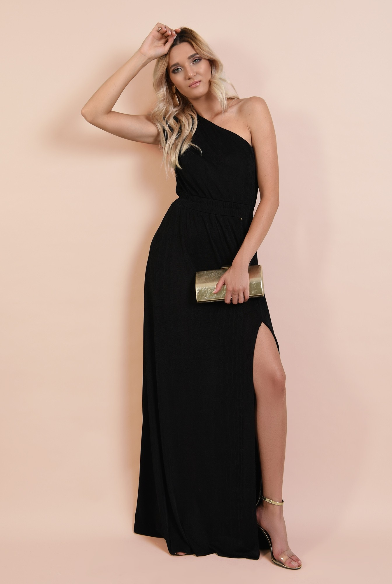 3 - rochie de seara, cu slit, talie variabila, umar gol, Poema, jerse lycra, umar fronsat